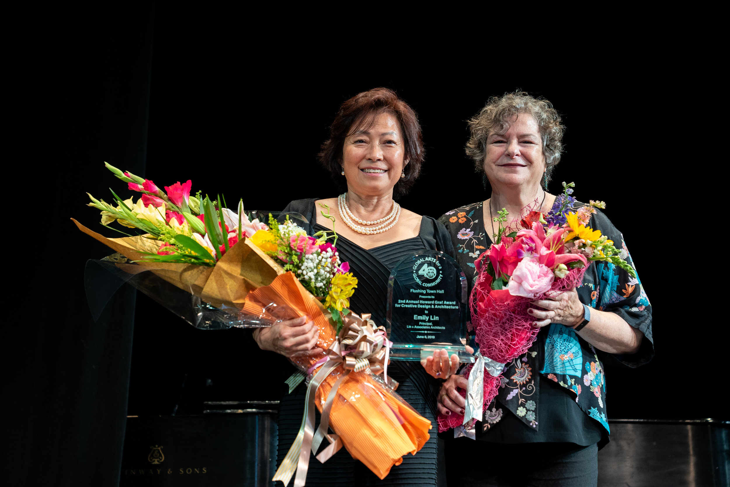 Flushing Town Hall held its 40th annual gala on June 6, 2019. Pictured (left to right) are: Honoree Emily Lin, Principal, Lin + Associates, and Executive and Artistic Director Ellen Kodadek.