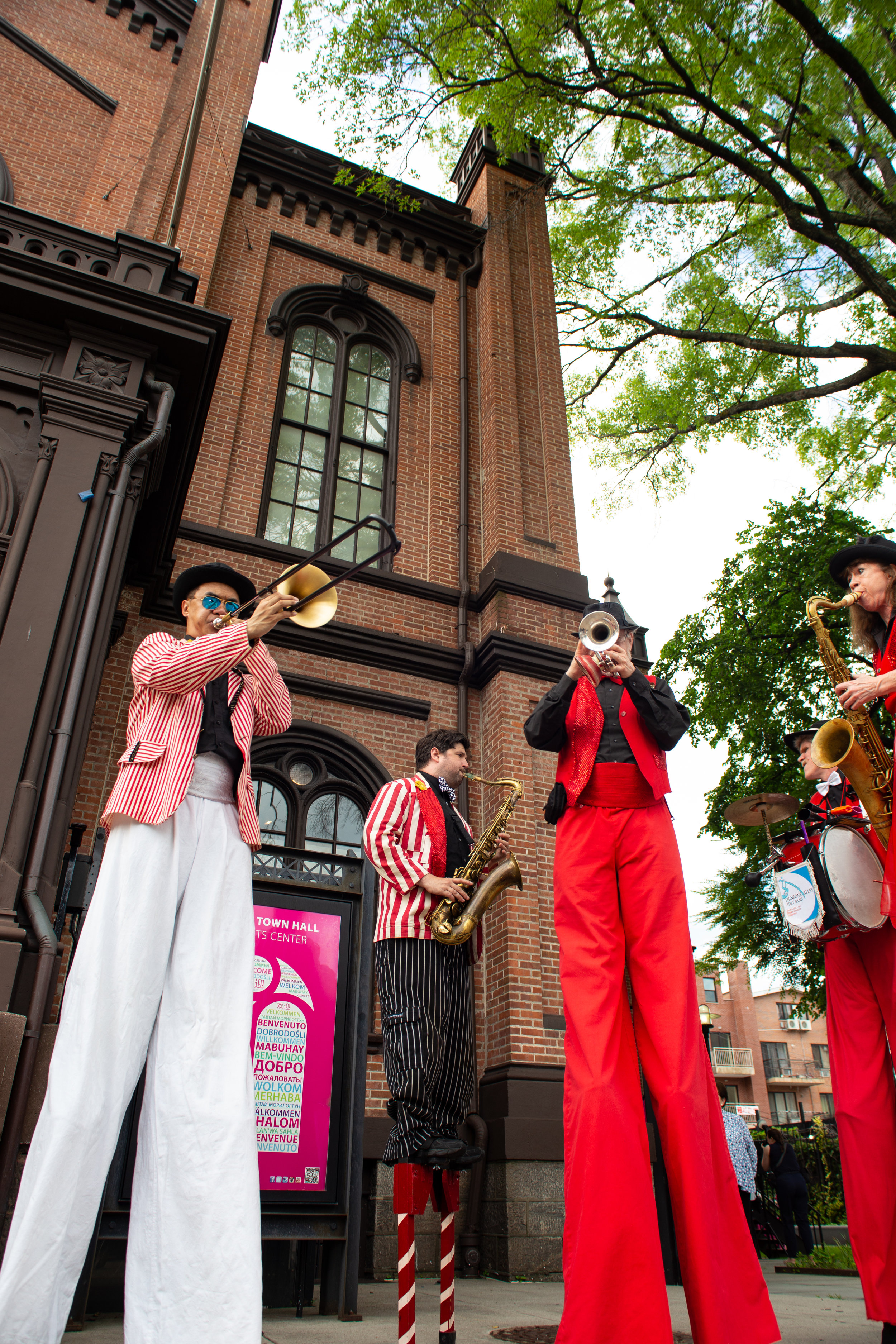 Flushing Town Hall held its 40th annual gala on June 6, 2019. Pictured is the Shinbone Alley Stilt Band, which greeted attendees as they arrived.