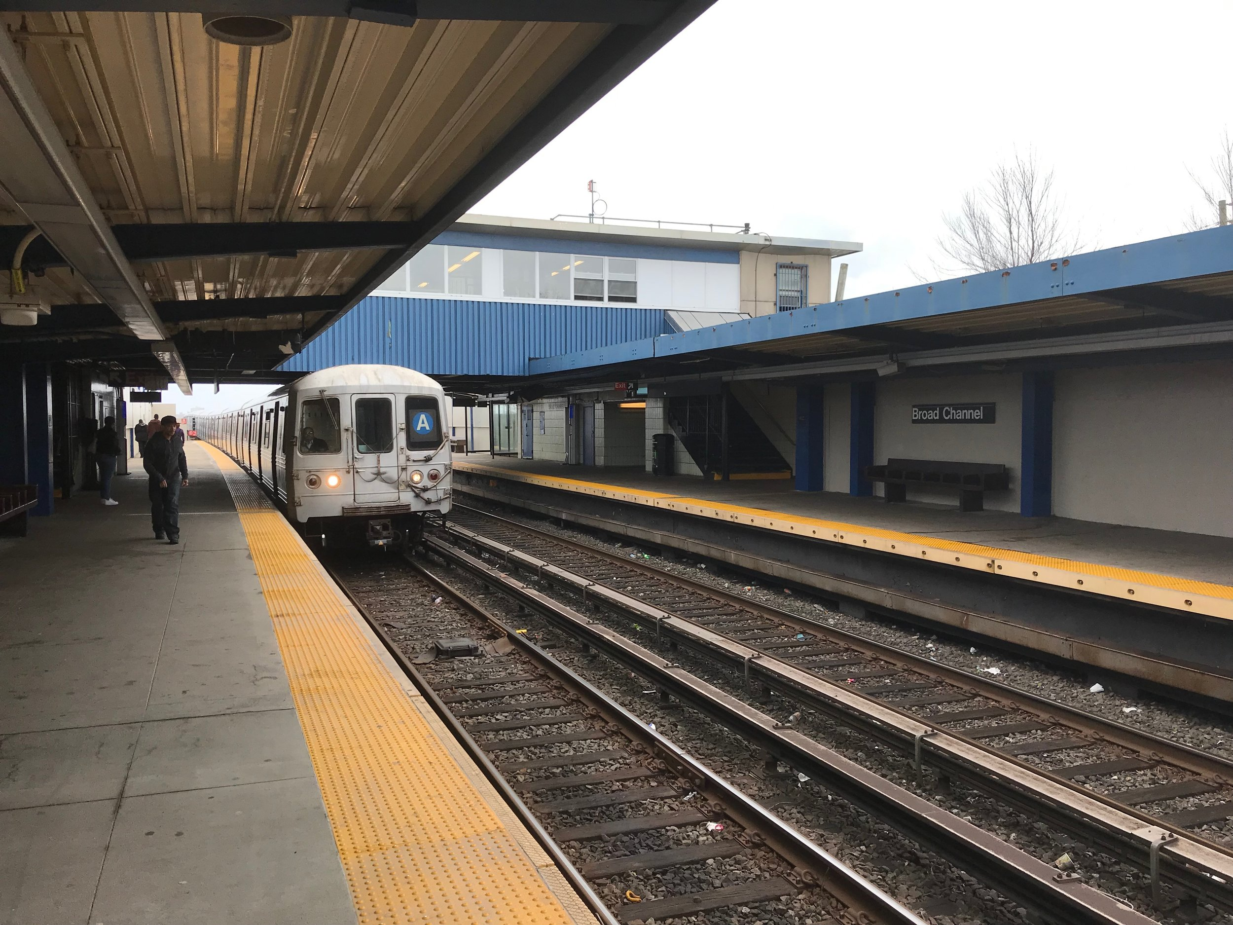 The A train arrives at Broad Channel, one of the least-used stations in the city.  Eagle  file photo by Jonathan Sperling.