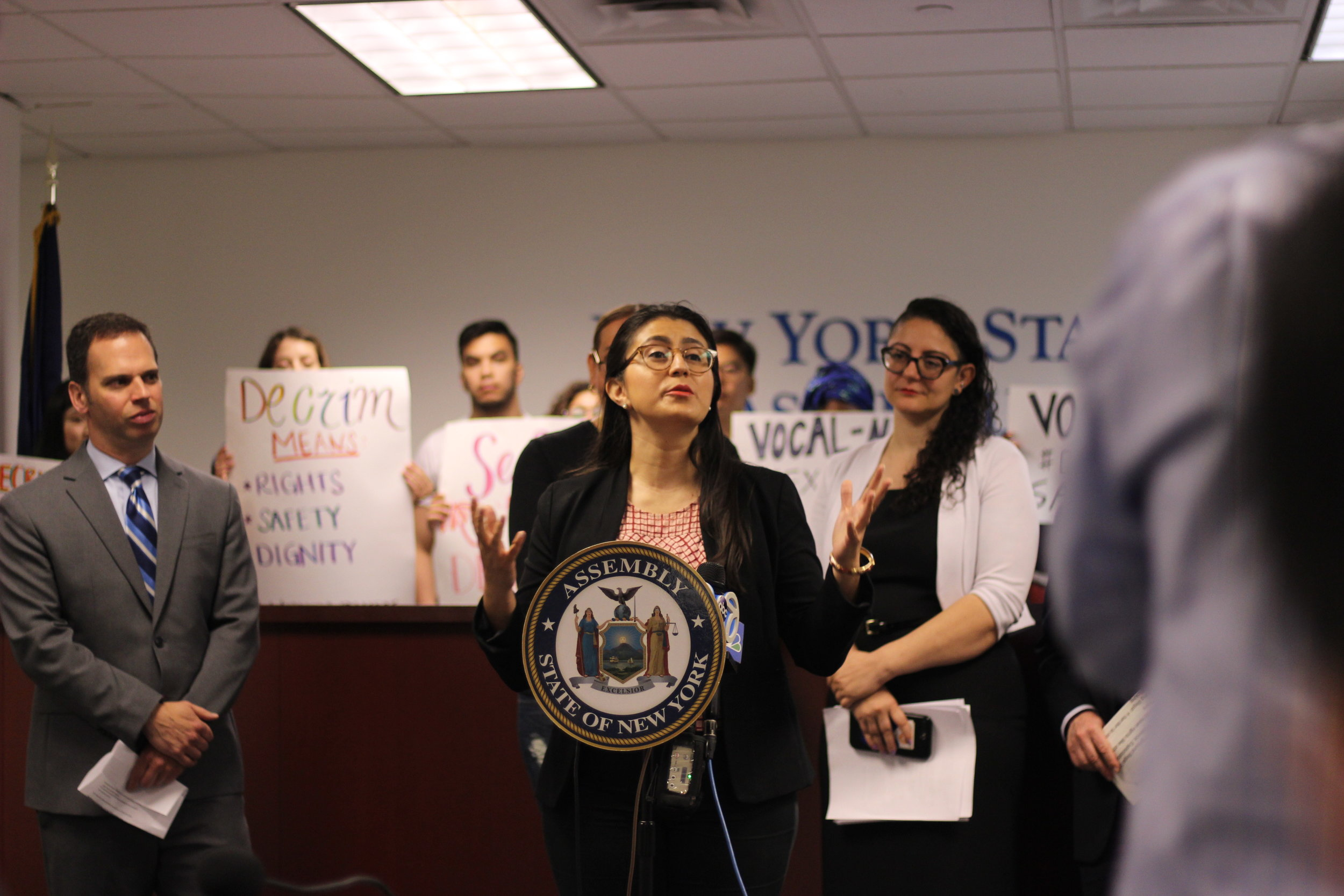 """Here we are to affirm today that sex work is work,"" State Sen. Jessica Ramos said.  Eagle  photo by Victoria Merlino."