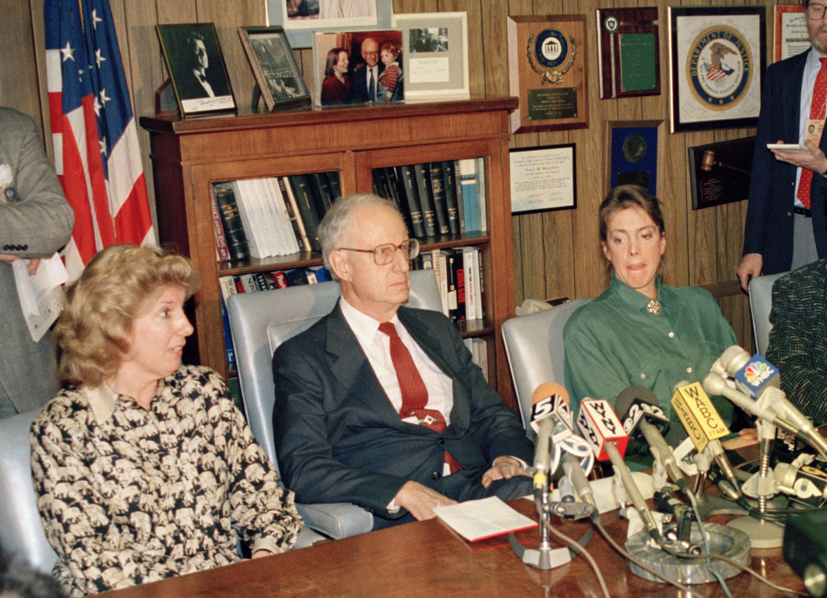 Prosecutor Linda Fairstein (left) at a news conference with former Manhattan District Attorney Robert Morgenthau in 1988. AP Photo/Charles Wenzelberg, File