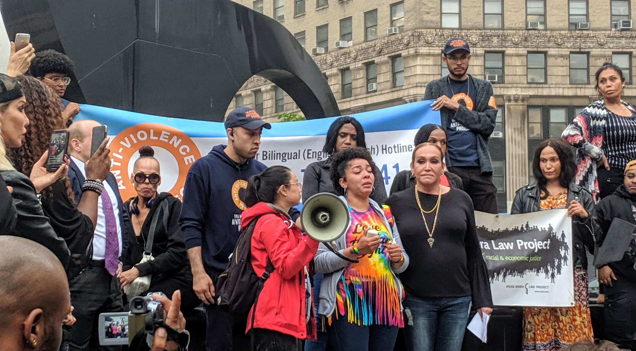 Polanco's sister Melania Brown speaks to the crowd at Foley Square on Monday evening.  Eagle  photos by Phineas Rueckert.