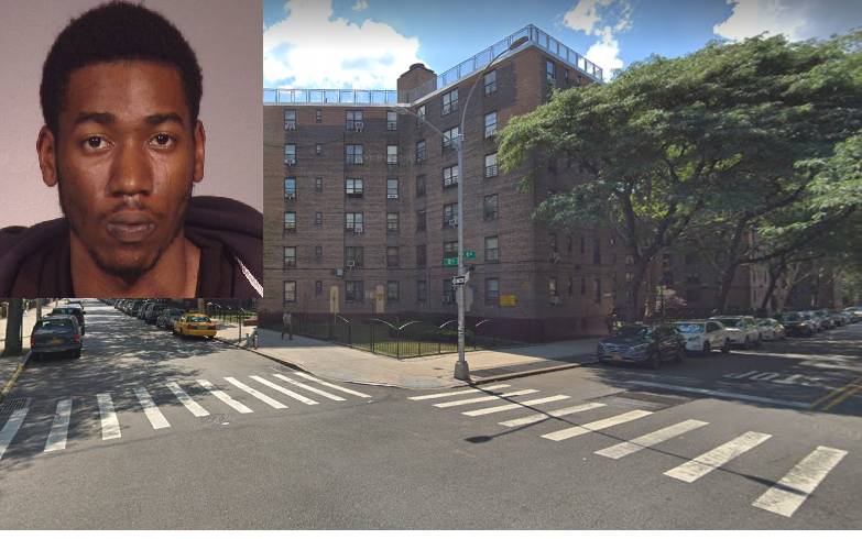 "Snooze Brown was in the middle of a heated fight with his girlfriend in Long Island City when he pulled out a gun and shot it multiple times, ""accidentally"" striking a teacher. Inset photo via the NYPD. Background photo via Google Maps."