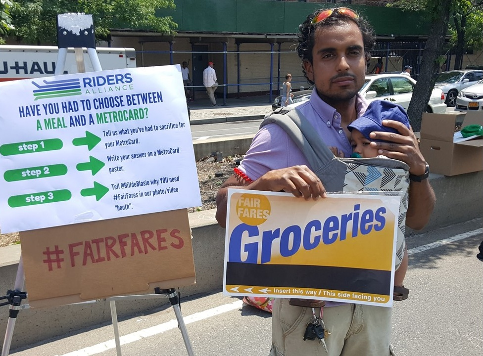 Riders Alliance members advocate for the Fair Fares program, a city initiative that gives a 50 percent discount on subway and eligible bus fares to some low-income New Yorkers. Photo courtesy of Riders Alliance.