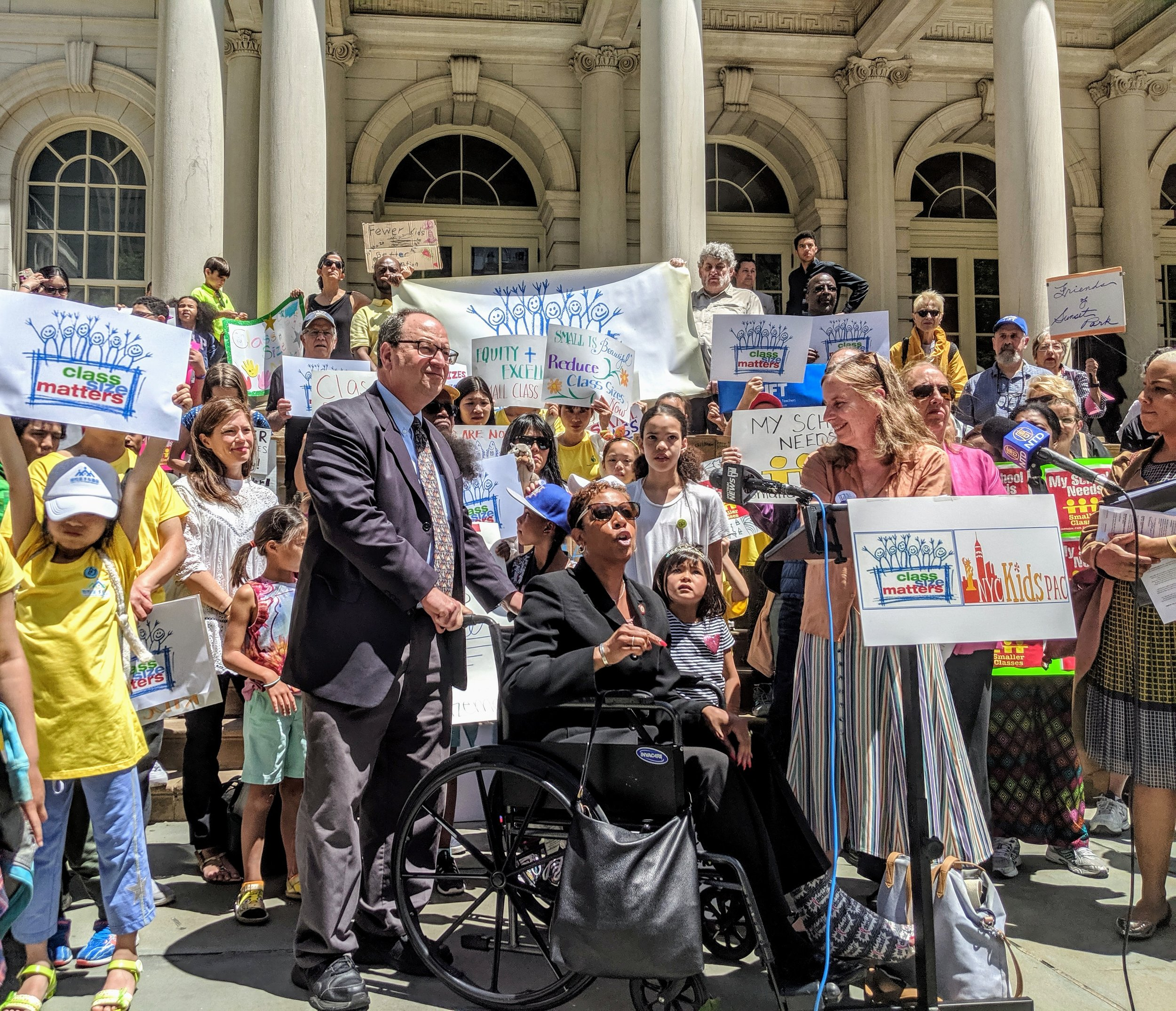 Councilmember Adrienne Adams speaks at a rally for smaller class sizes on June 11 in front of City Hall in Manhattan.  Eagle  photo by Phineas Rueckert.
