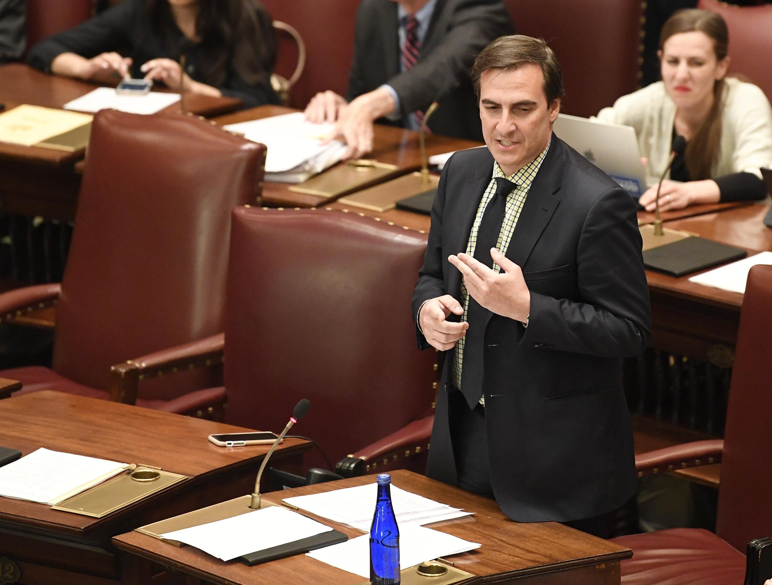 State Sen. Michael Gianaris sponsored the bill to establish automatic voter registration in New York. AP Photo/Hans Pennink.