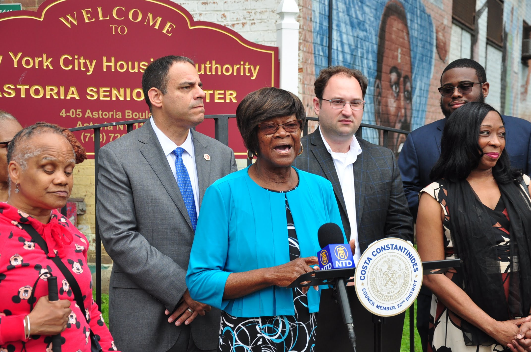 Astoria Houses Tenants Association President Claudia Coger was grateful that the senior center was saved from closure. Photos courtesy of Constantinides' office.