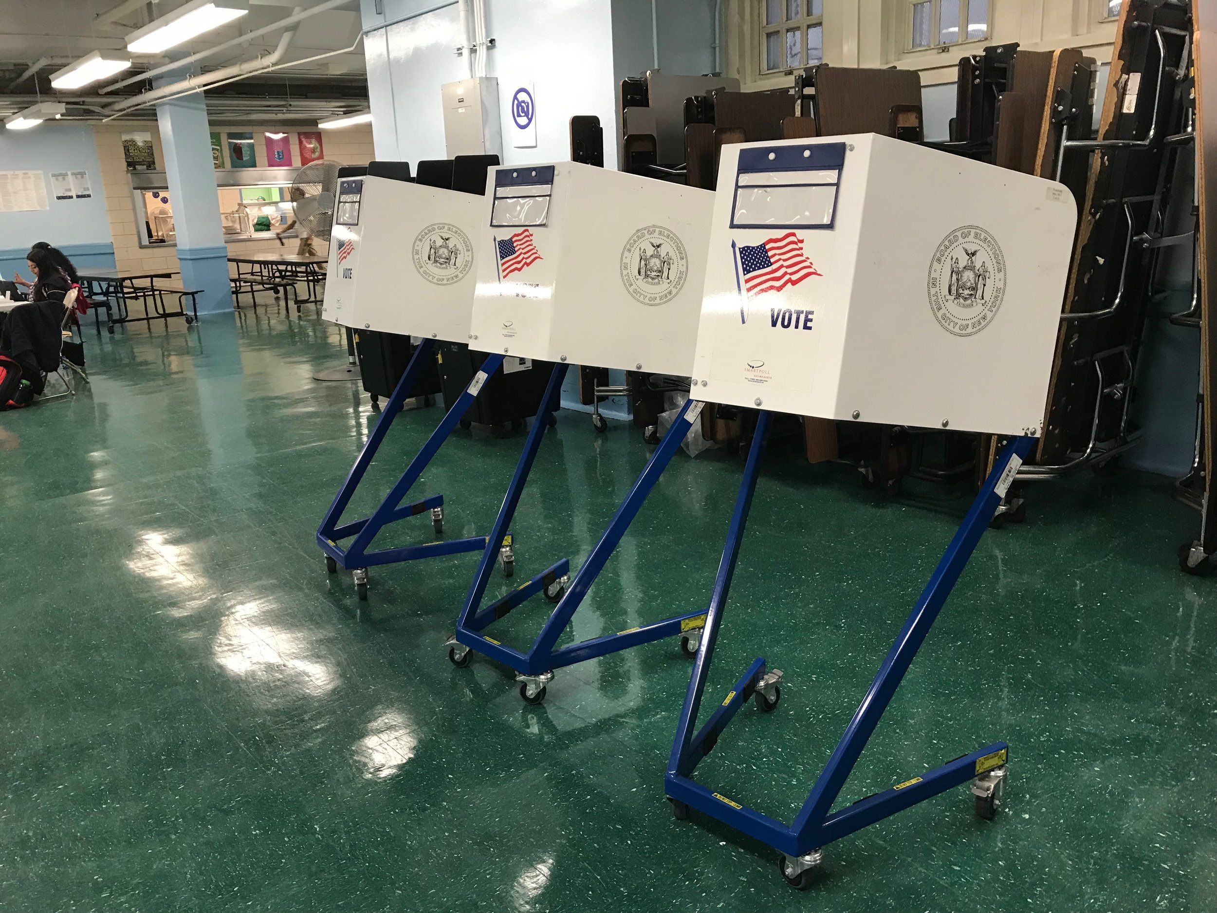 An empty polling place awaits voters in Ridgewood Tuesday morning.  Eagle  photo by David Brand