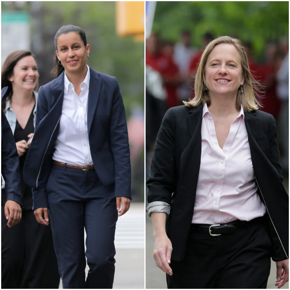 Public defender Tiffany Cabán (left) and Queens Borough President Melinda Katz (right) were neck and neck in the Queens Democratic Primary race for Queens District Attorney. AP Photos/Seth Wenig.