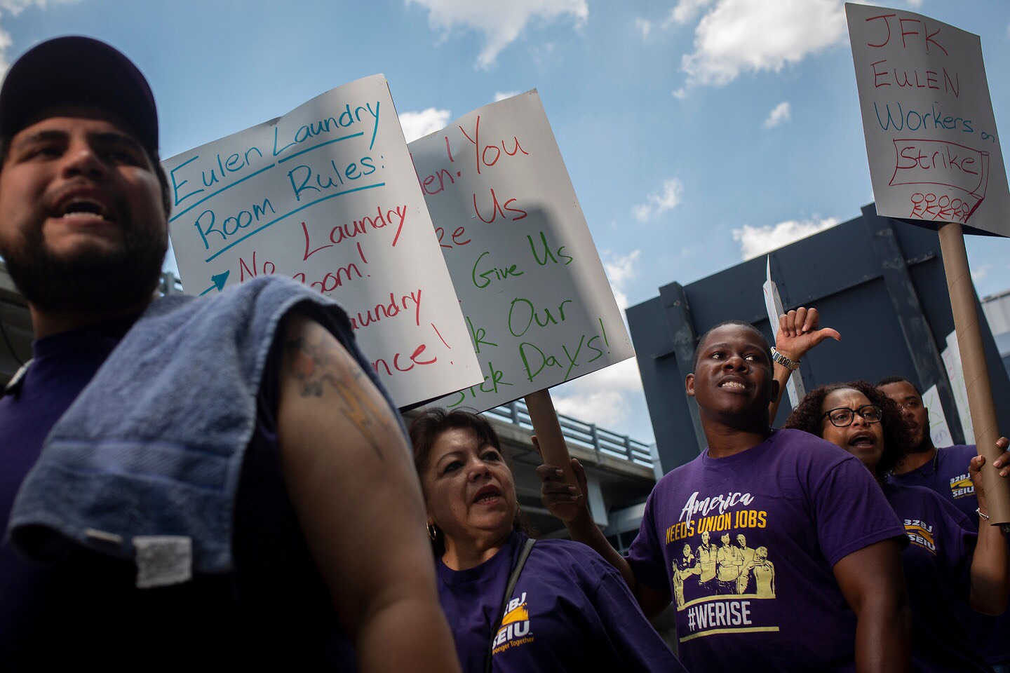 Employees of Eulen America strike for better conditions at JFK Airport. Photo via 32BJ SEIU
