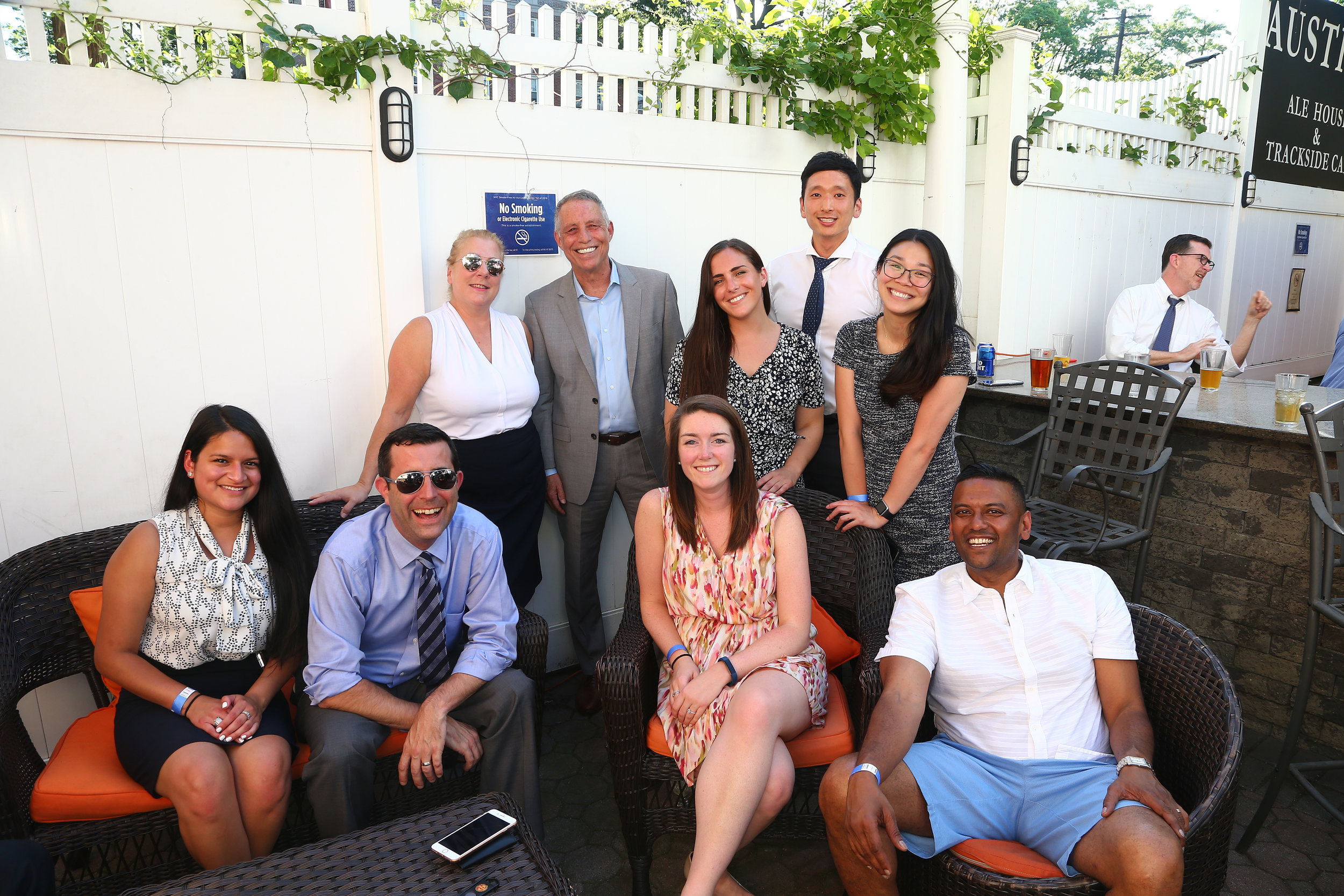 From left, Alexia Compoverde, Eugene M. Guarino, Denise Tirino, Todd Greenberg, Kaitlyn Gaskin, Rachel Houle, Christopher Bae, Michelle Yong and Simiyon Haniff.