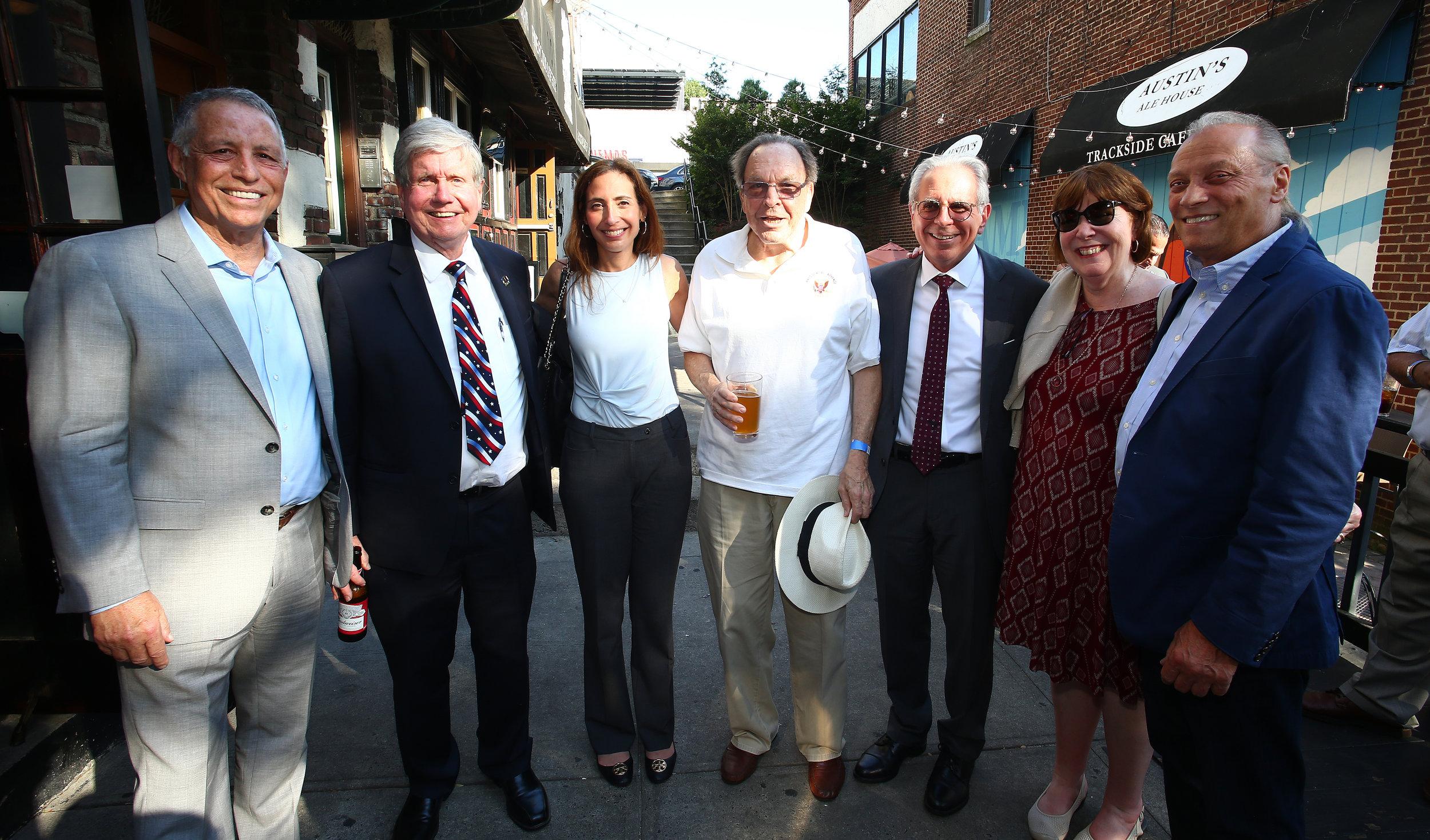 From left, Todd Greenberg, Acting DA John Ryan, Rachel Buchter, Steve Goldenberg, Charles Castarelli, the Hon. Deborah Modica and Dominic Addabbo.