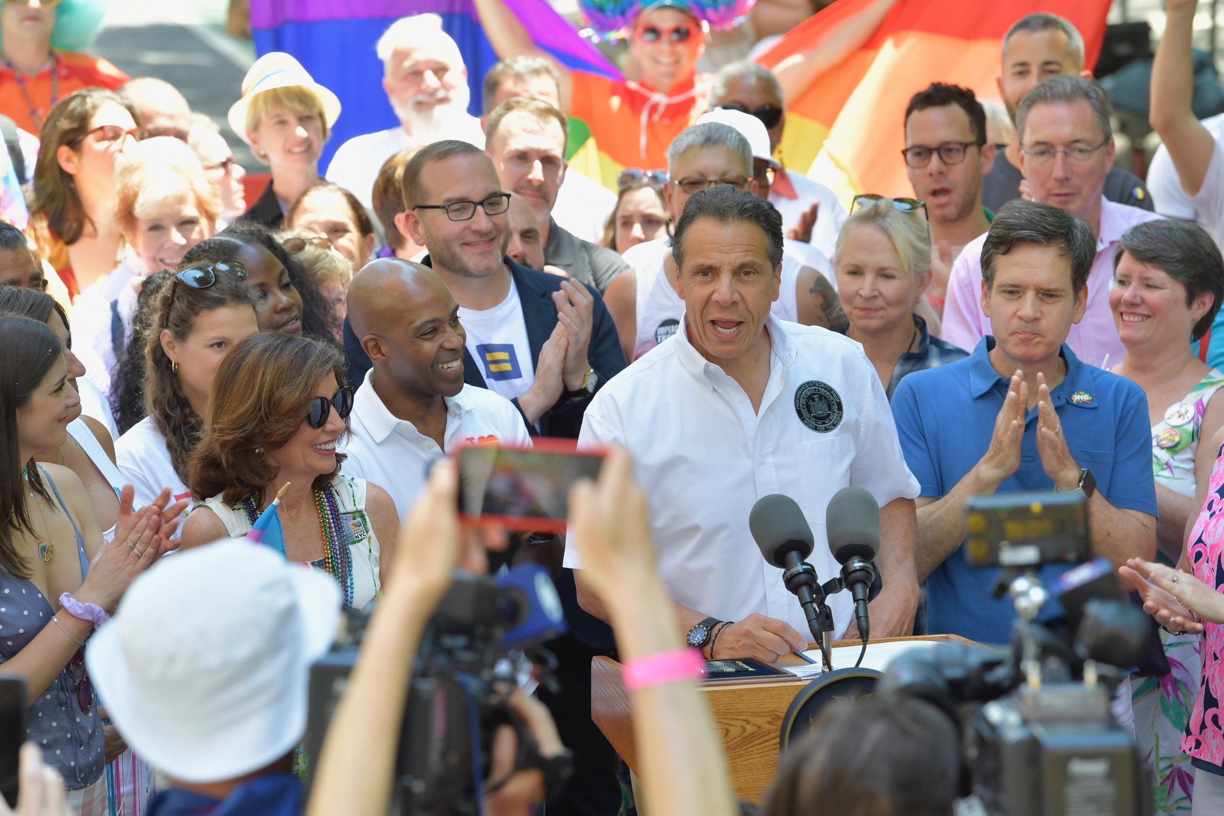 Gov. Andrew Cuomo talks to reporters before kicking off the 2019 WorldPride/Stonewall50 Parade in New York City. Photo by Don Pollard/Office of Gov. Andrew M. Cuomo.