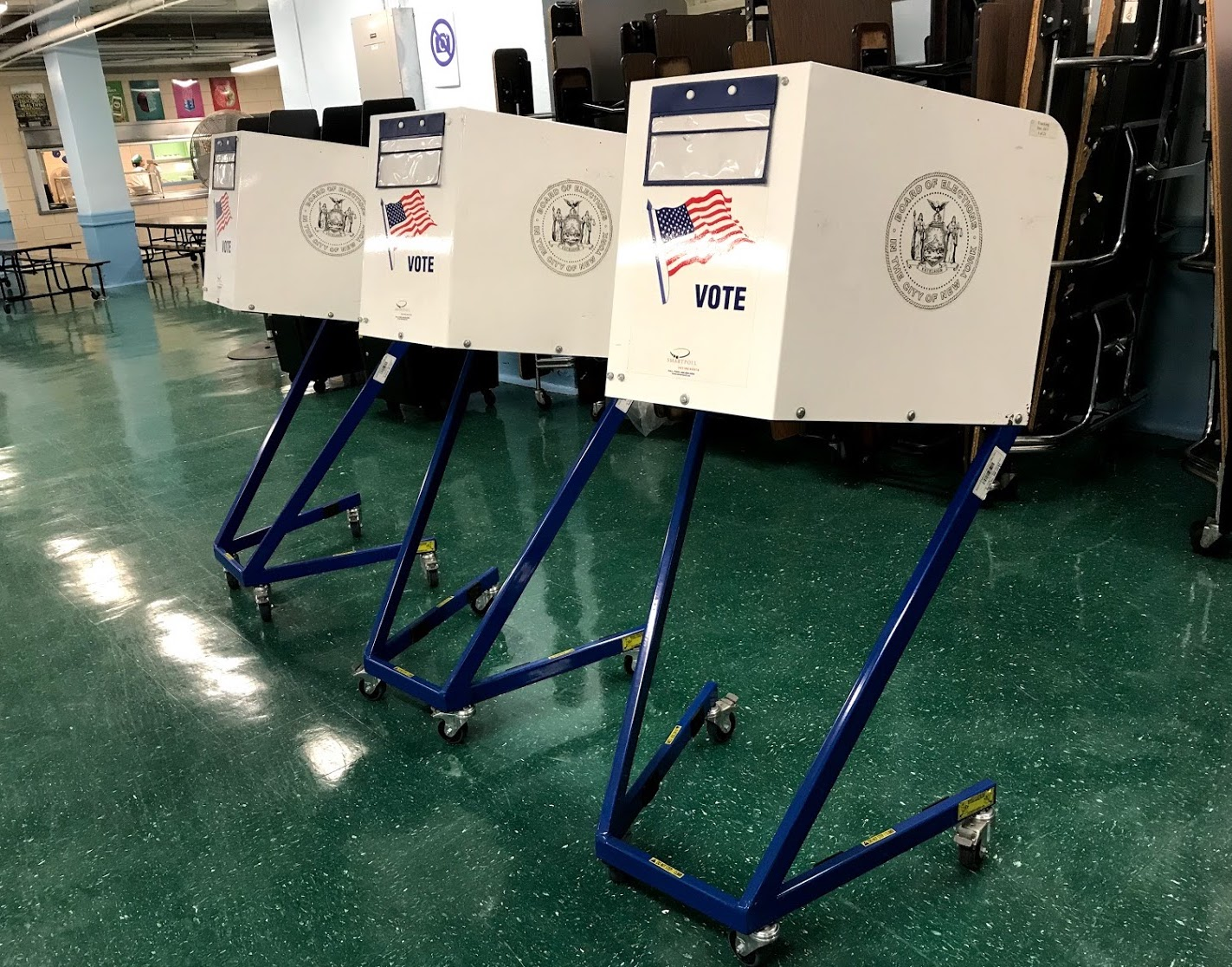 Empty voting booths at a Ridgewood polling place on election day.  Eagle  file photo by David Brand.