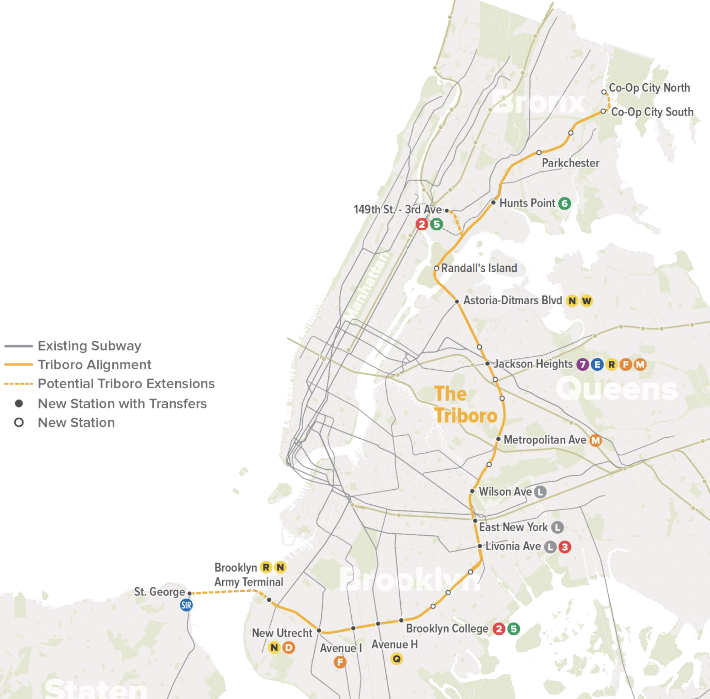 The Triboro would be an above-ground rail stretching 24 miles from Co-op City in the Bronx to Bay Ridge in Brooklyn, with seven stops in Queens. Maps courtesy of the RPA.