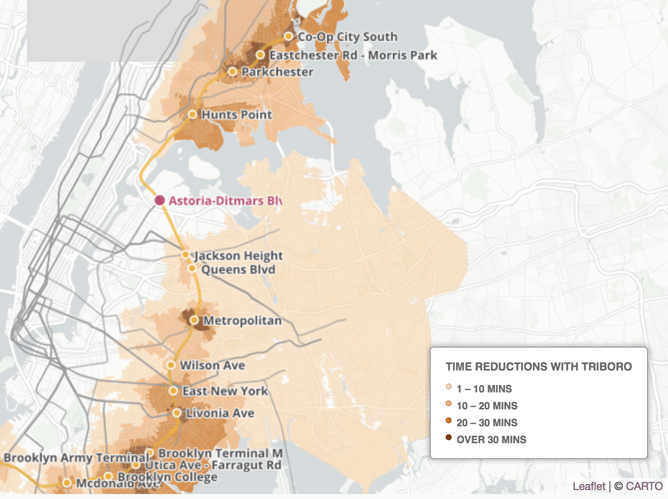 The Triboro would significantly reduce travel times between Queens and the Bronx and Brooklyn, according to its supporters. It would operate on existing train routes. Map courtesy of the RPA.