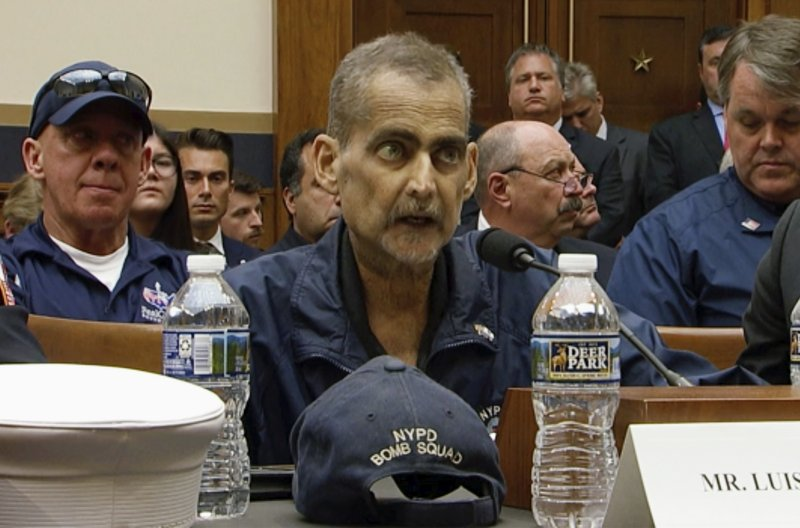 In this June 11, 2019, file image made from video, retired New York Police Detective and 9/11 responder, Luis Alvarez, speaks during a hearing by the House Judiciary Committee as it considers permanent authorization of the Victim Compensation Fund. US Network Pool via AP, pool.