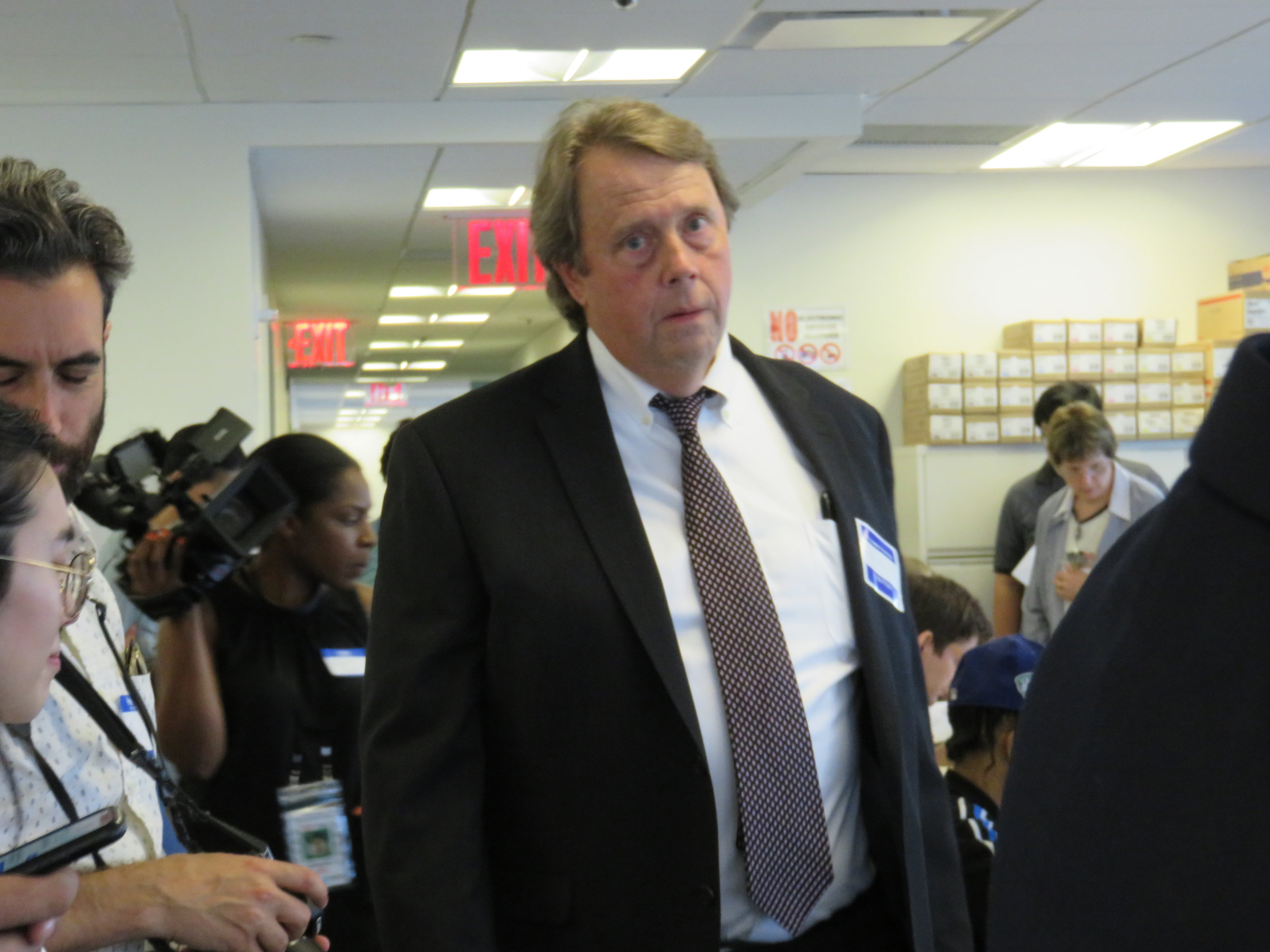 Attorney Frank Bolz of the Queens County Democratic Party oversees Katz's poll monitors.  Eagle  photo by David Brand