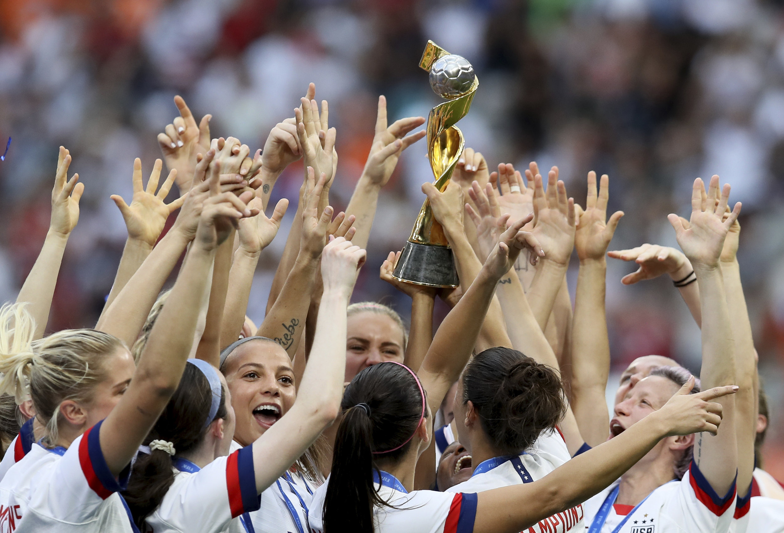The U.S. Women's National Team celebrates its second-consecutive World Cup title Sunday. AP Photo/David Vincent