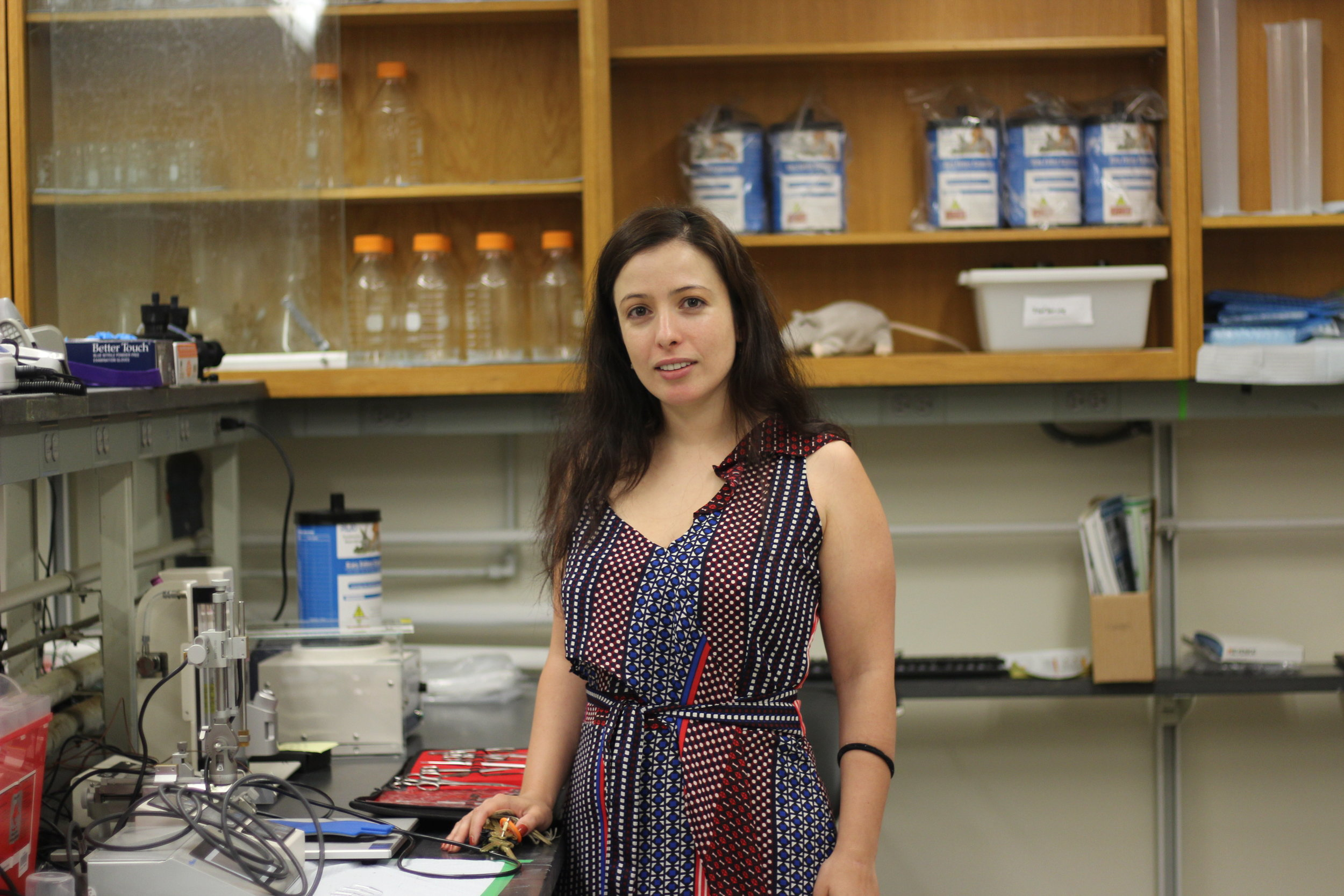 Queens College Professor Maral Tajerian, who consults for Marvel, in her lab.  Eagle  photo by Victoria Merlino