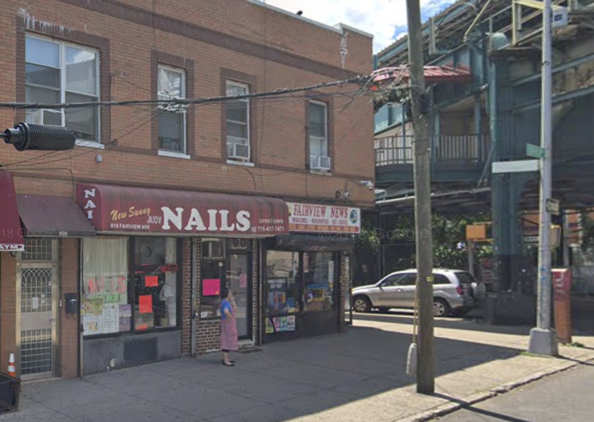 A robbery suspect allegedly assaulted staff and robbed the Fairview Avenue Beauty and Nail Salon in Ridgewood. Photo via Google Maps