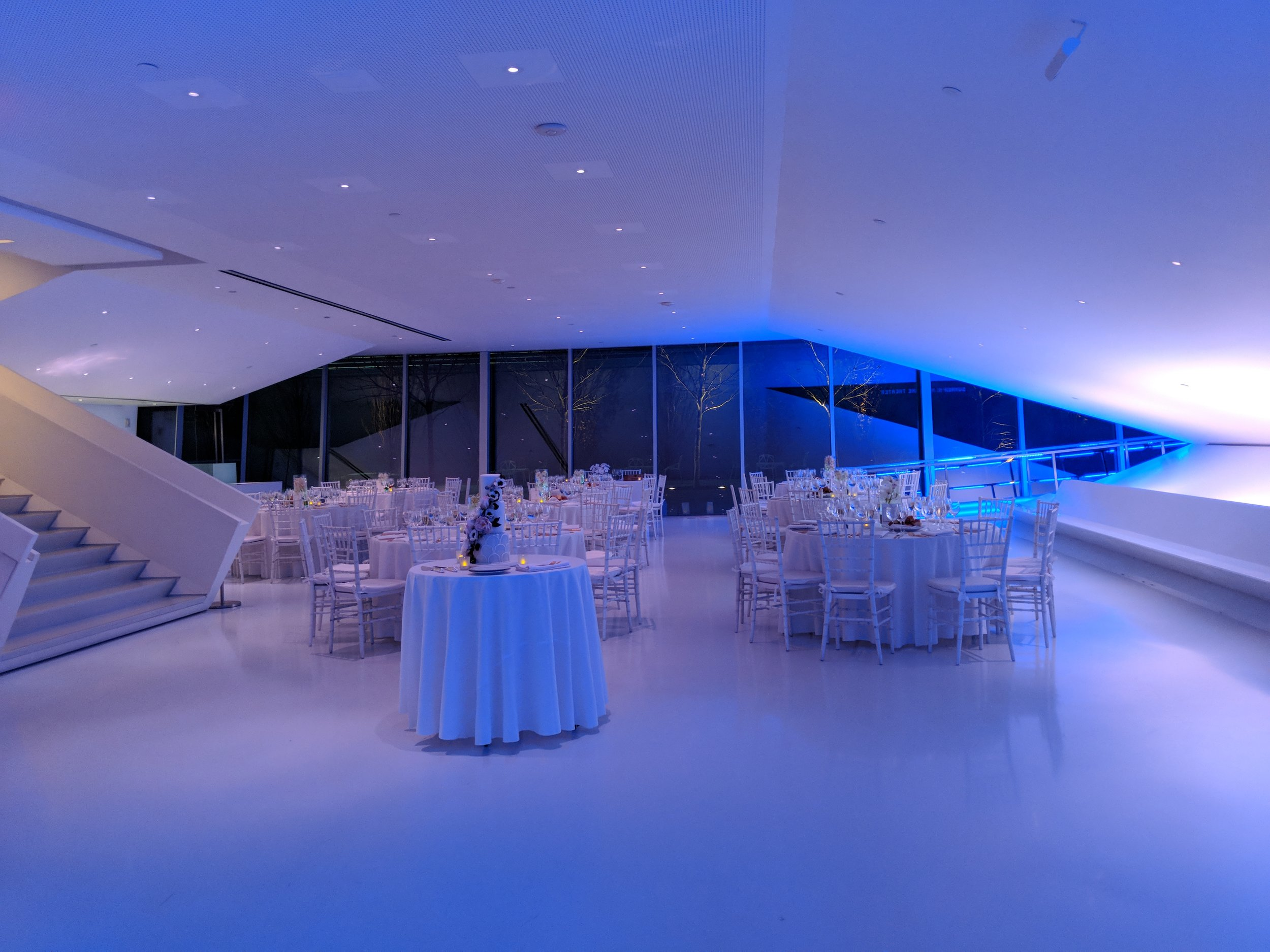 A wedding arrangement at the museum of the moving image. photo courtesy of momi