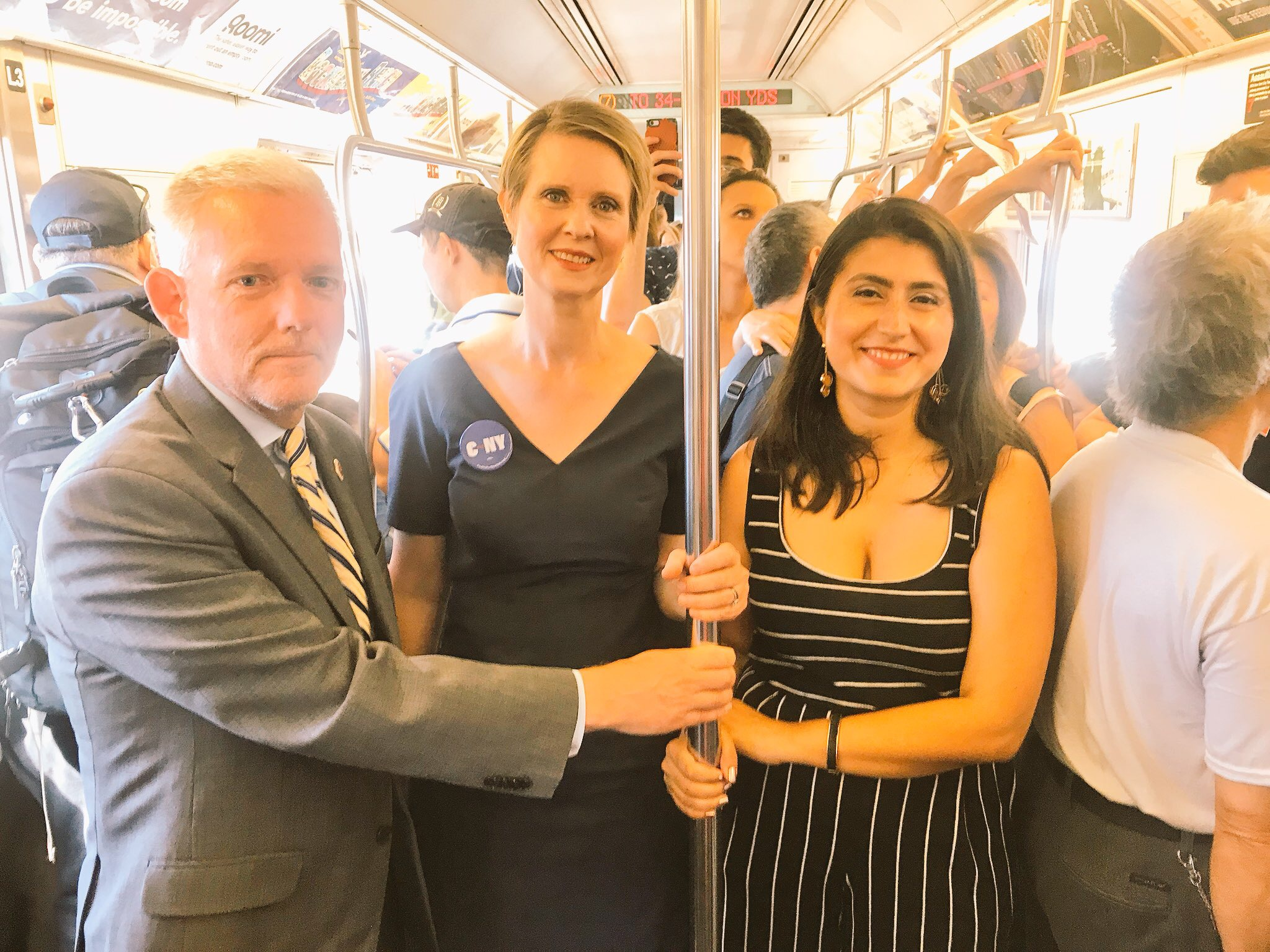 Van Bramer (left) campaigned for Cynthia Nixon (center) and Jessica Ramos (right) throughout the summer of 2018. File photo, courtesy of Jessica Ramos' campaign