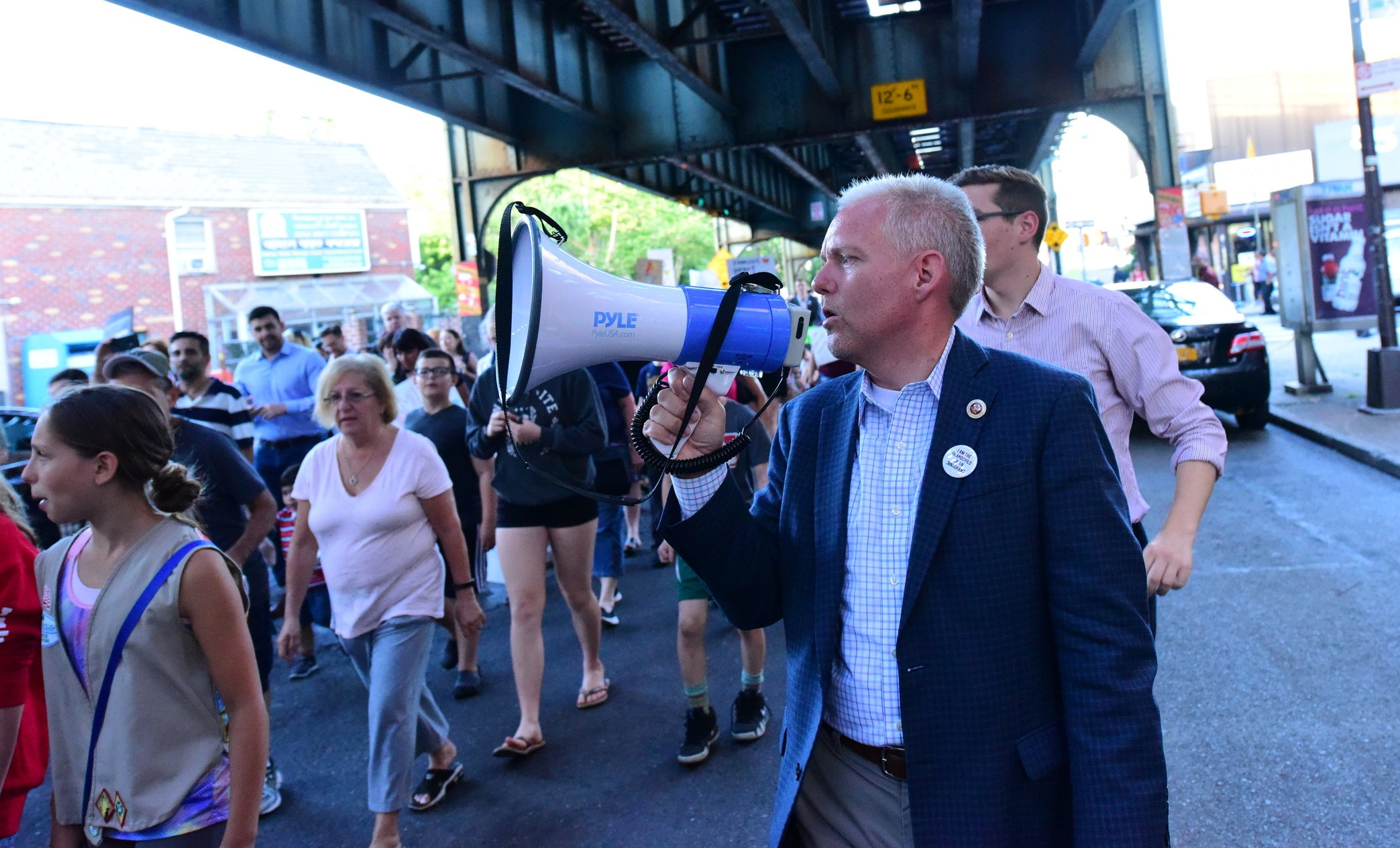 Council Member Jimmy Van Bramer organized a march in support of immigrant families separated at the U.S.-Mexico border in the June 2018.  Eagle  file photo by Andy Katz