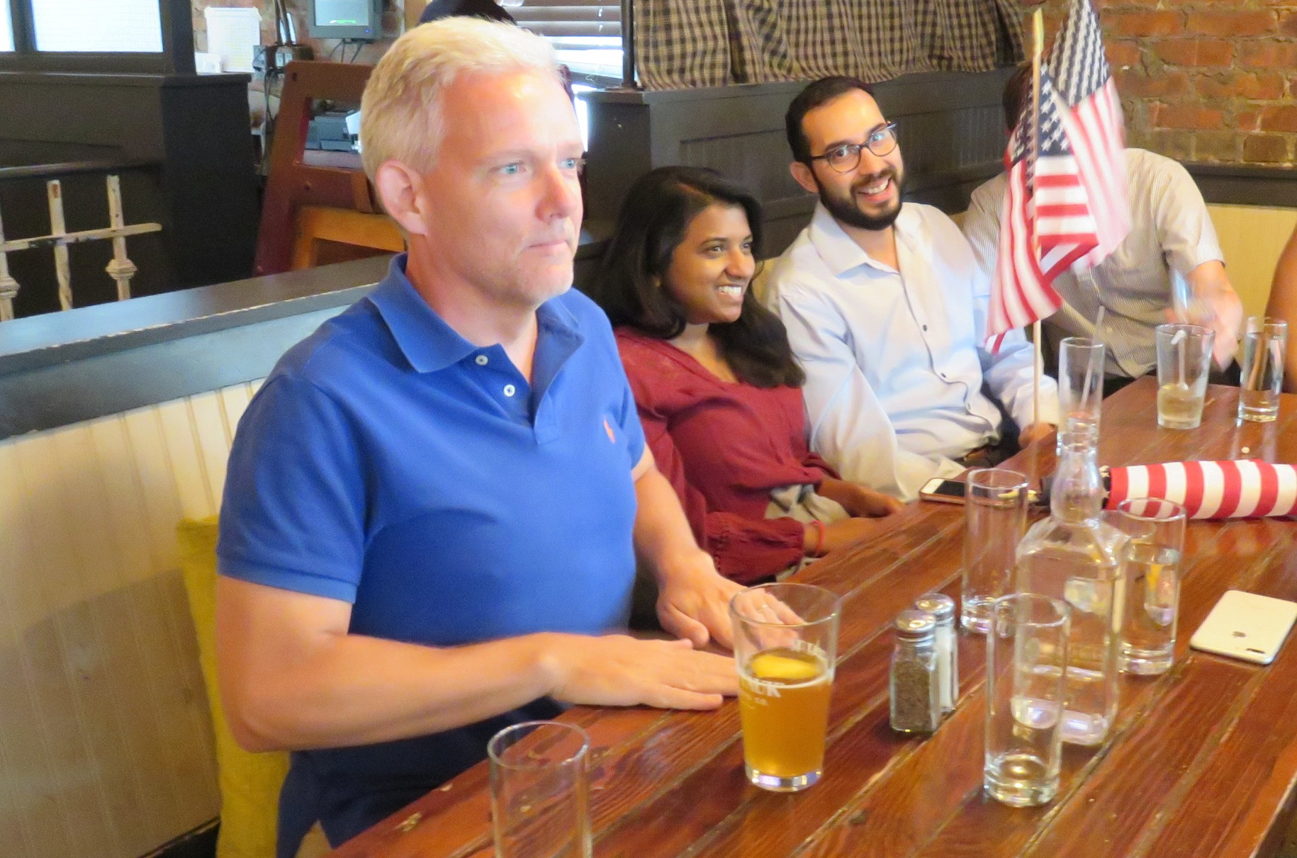 Van Bramer and his staff watched the U.S. Women's National Team in the semifinals of the World Cup at a bar in Sunnyside.  Eagle  photo by David Brand