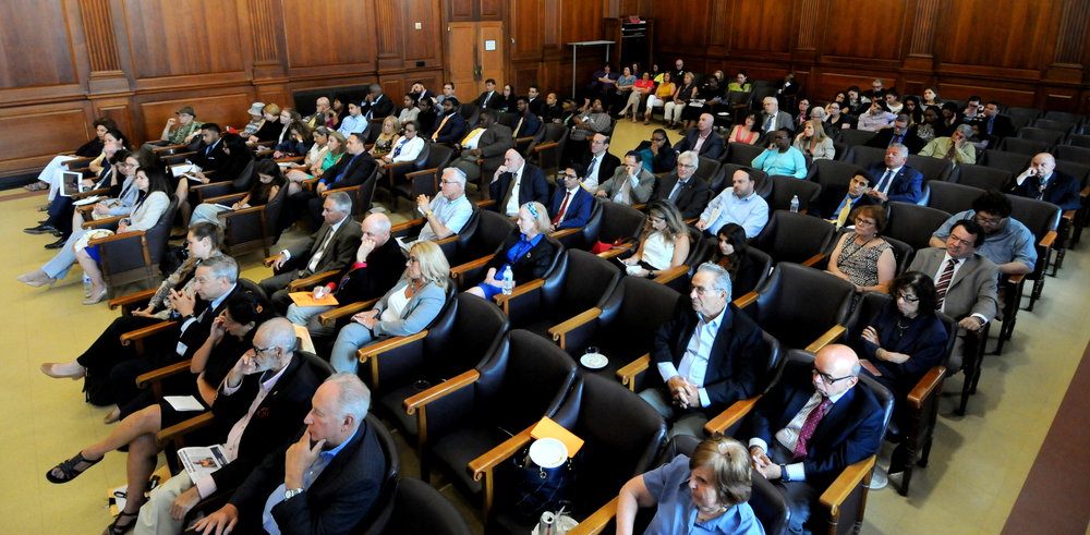 Dozens of Queens legal professionals and community members attended the lecture organized by the Brandeis Association at Queens Supreme Court.  Eagle  photos by Walter Karling.
