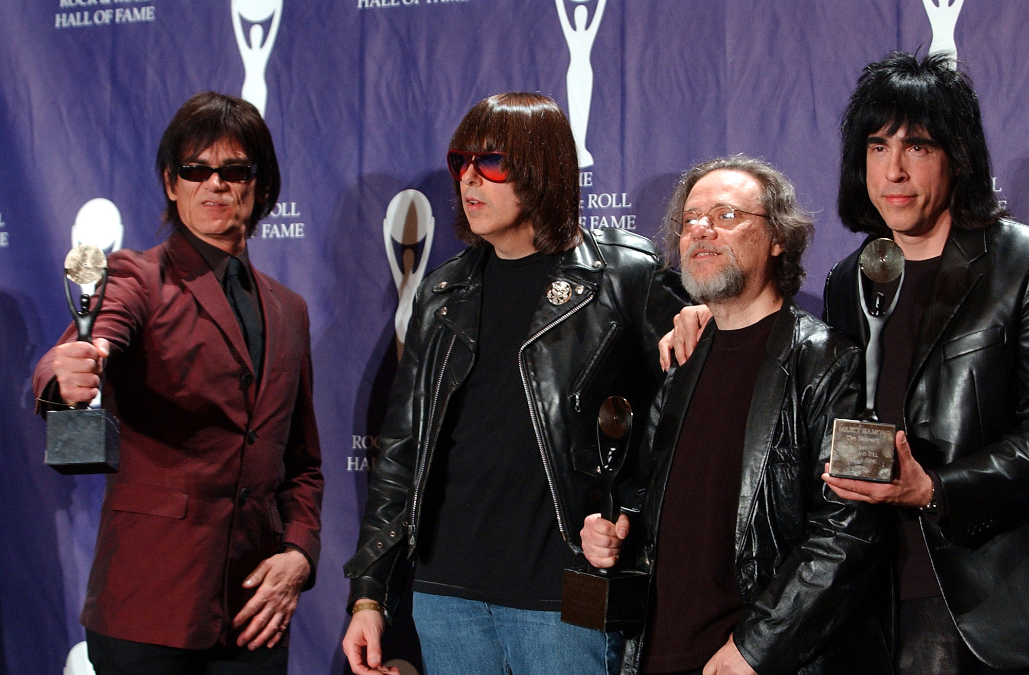 Members of the Ramones at their 2002 Rock and Roll Hall of Fame induction ceremony. AP Photo/Ed Betz, File.