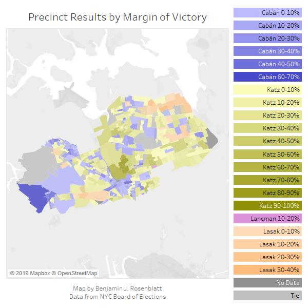 Results from the 6th Congressional District in the June 25 Democratic primary for Queens DA. Map by Benjamin Rosenblatt.
