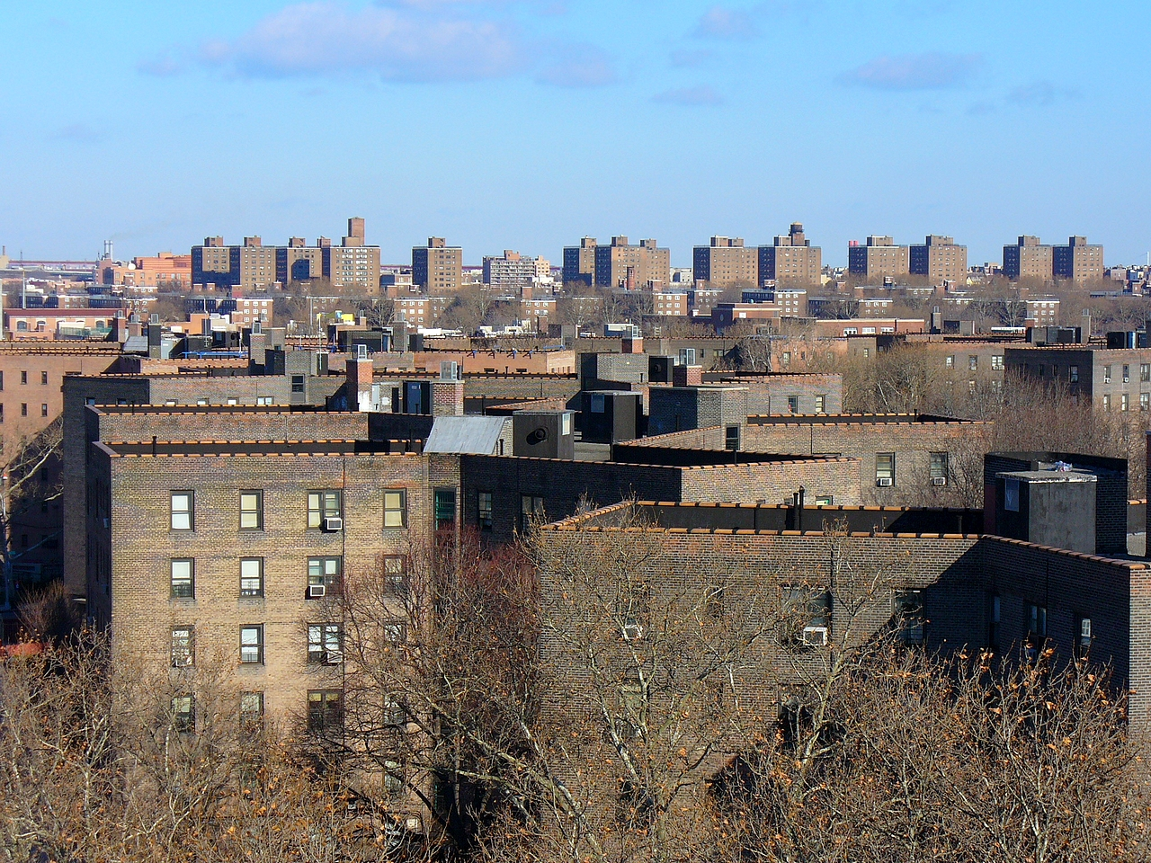The Queensbridge Houses have 347 households with children under 6 years old, according to NYCHA data. They have not yet been tested in NYCHA's citywide lead testing initiative. Photo by Metrocentric via Wikimedia Commons