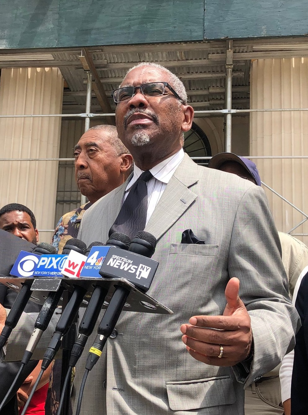 U.S. Rep. Gregory Meeks, chairperson of the Queens County Democratic Party, said he felt confident in the case made by Katz's campaign attorneys, who are connected to the Queens Democrats.  Eagle  photo by Emma Whitford