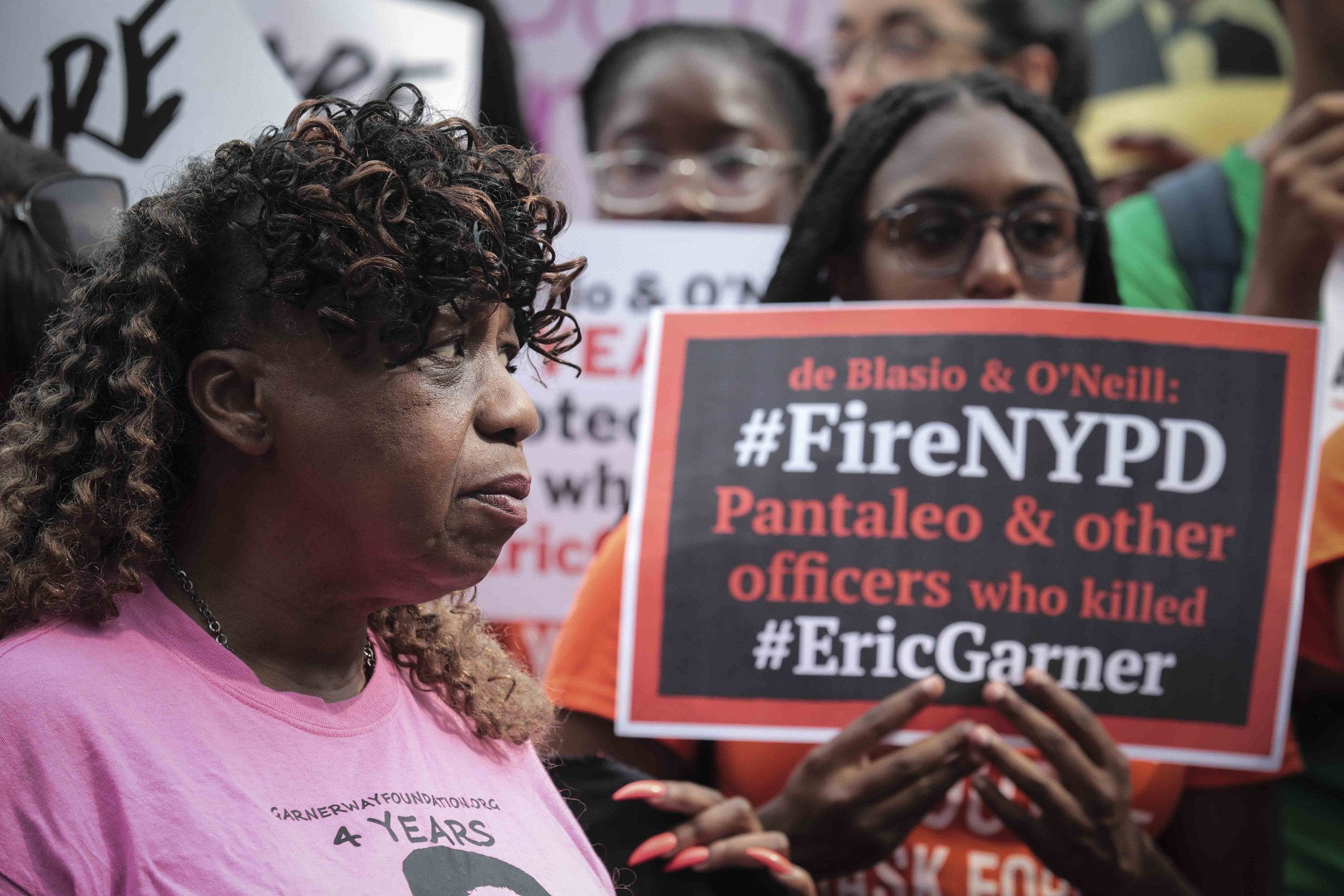 Eric Garner's mother has been a fierce advocate for police accountability since her son's death in 2014. On Friday, an NYPD judge recommended firing the officer who choked Garner, leading to his death. AP Photo/Bebeto Matthews.