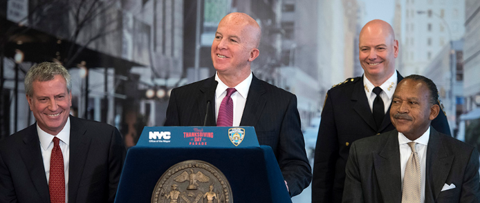 Police Commissioner James O'Neill announced year-over-year crime decreases citywide Tuesday. Photo via the NYPD.