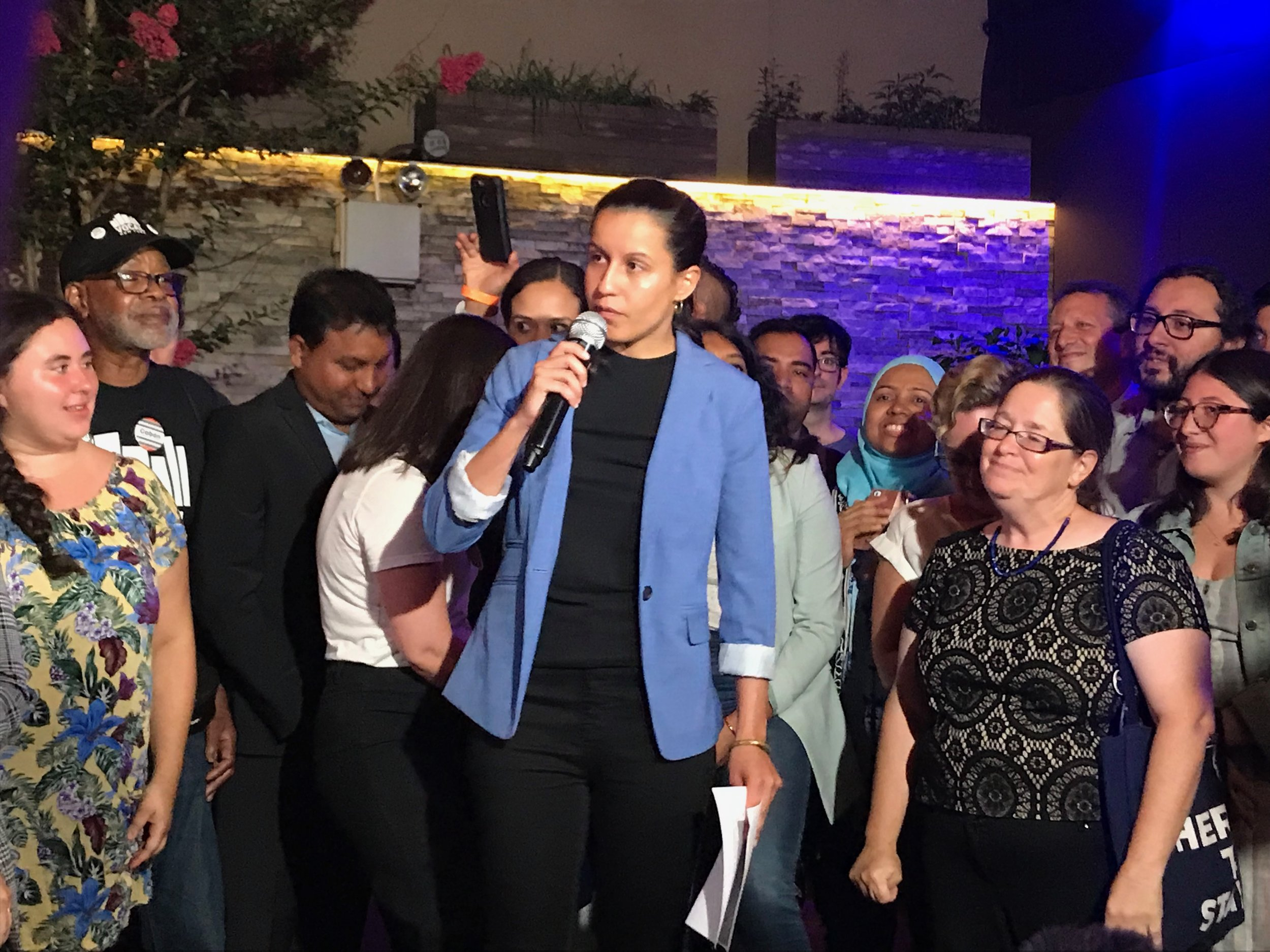 Cabán called for holding the next Queens DA accountable, and for fixing flaws in the election system.  Eagle  photo by Jonathan Sperling.