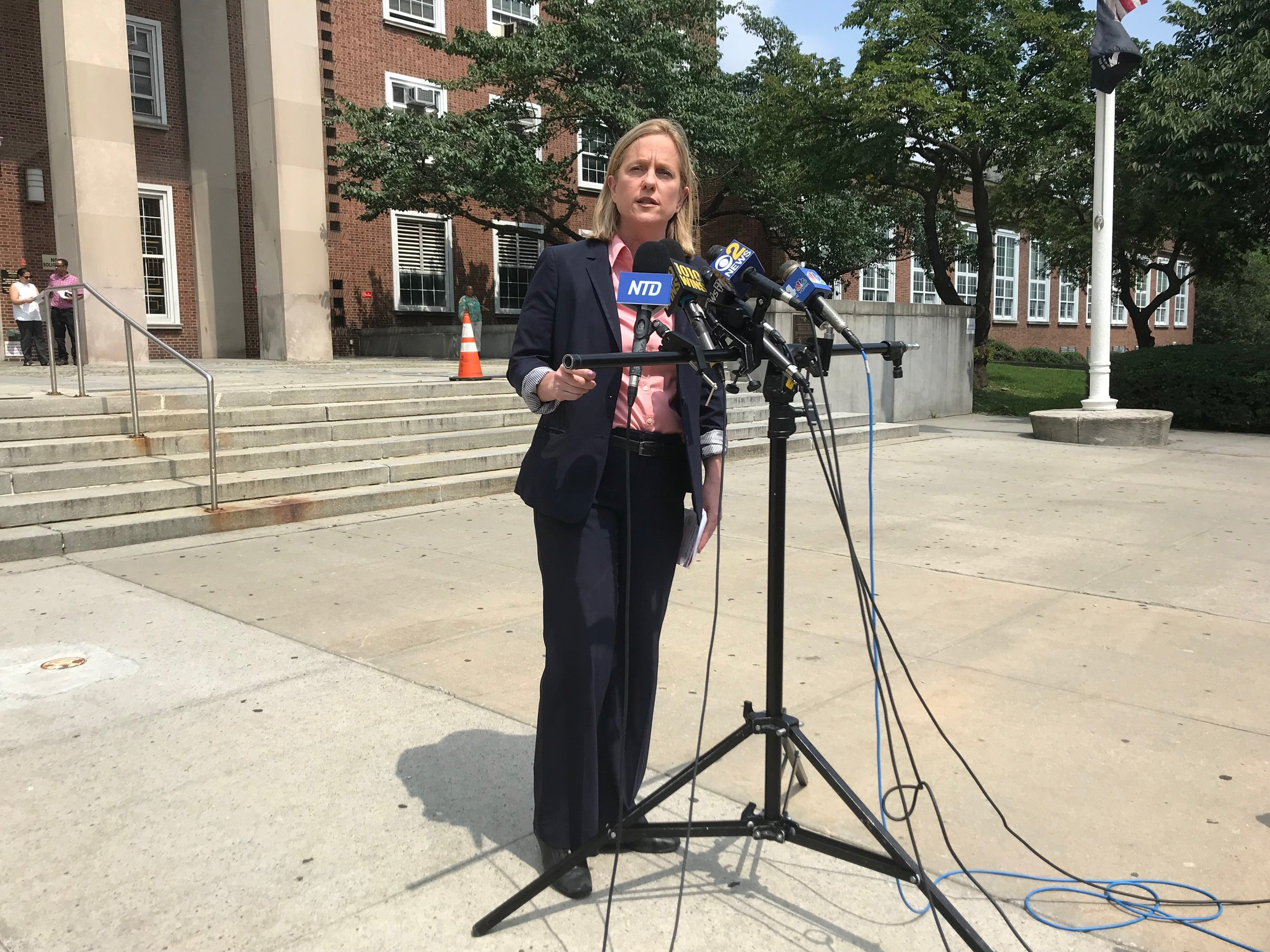 Borough President Melinda Katz announced her victory in the Democratic primary for Queens District Attorney in front of Queens Borough Hall Wednesday, hours after public defender Tiffany Cabán conceded.  Eagle  photo by Jonathan Sperling.