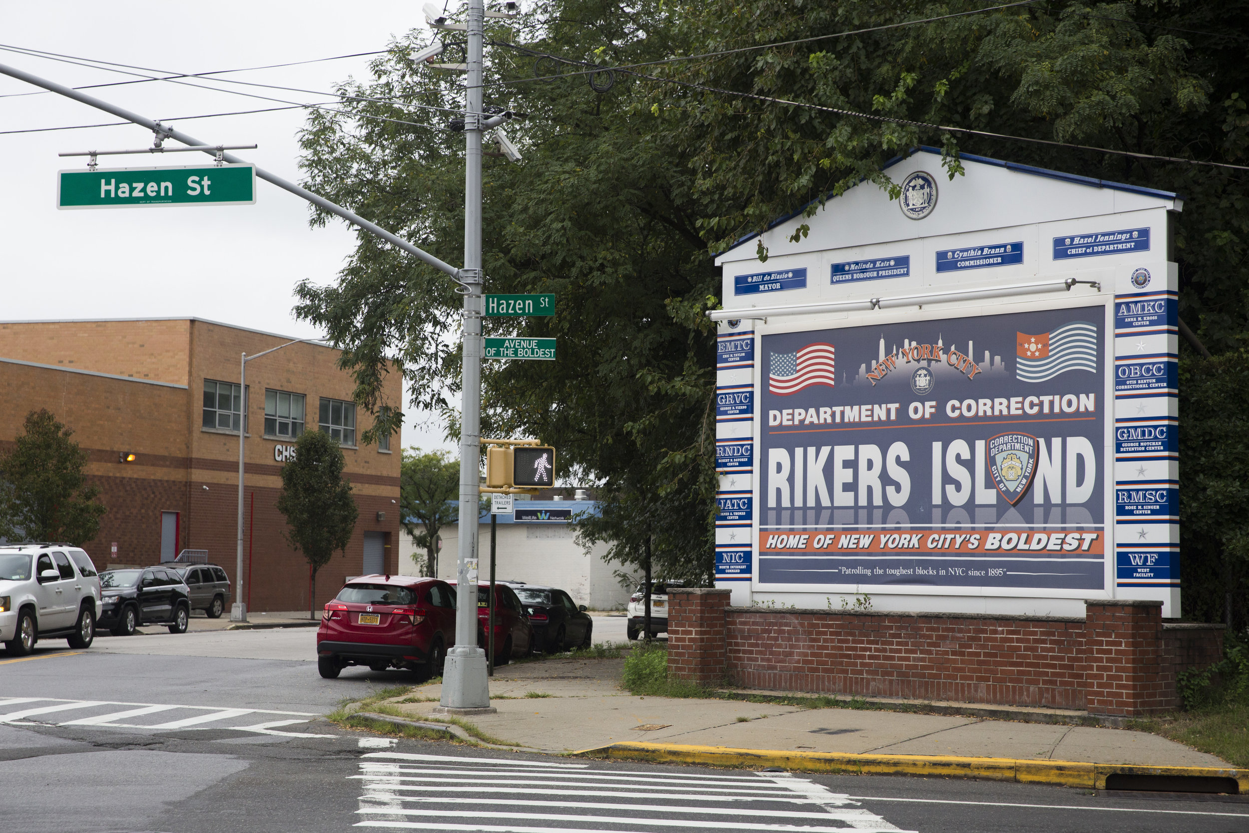 The entrance to Rikers Island, where young adults are completing only about half of their scheduled mental health treatment appointments.  Eagle  file photo by David Brand.
