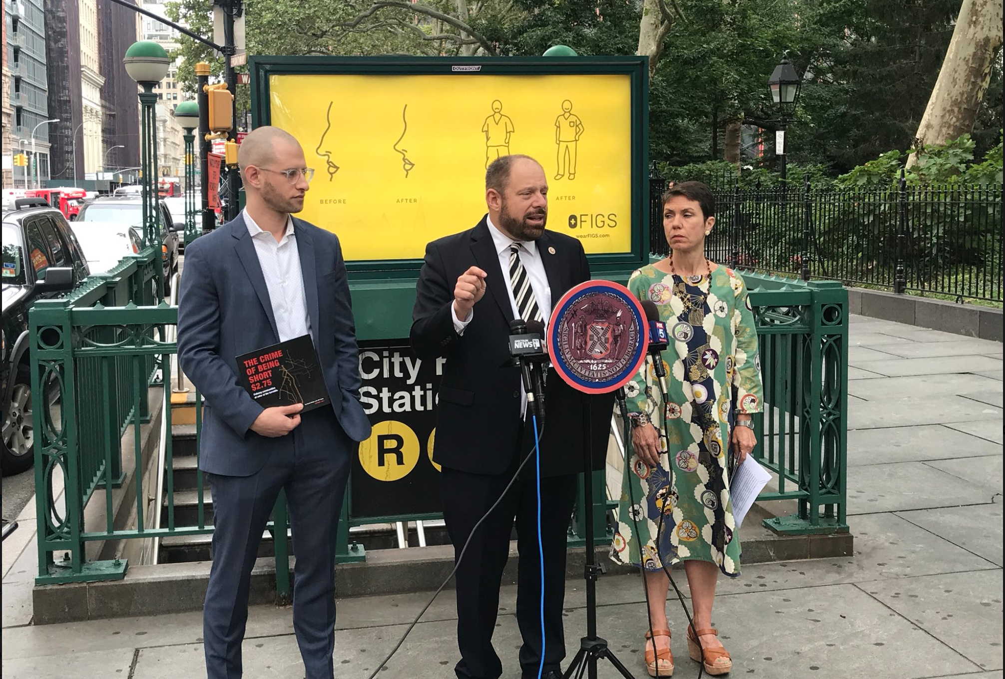 Councilmember Rory Lancman sued the NYPD to obtain fare evasion arrest data in accordance with city law last year. He spoke about the lawsuit with officials from the Community Service Society of New York in September 2018. Photo courtesy of Lancman's office.