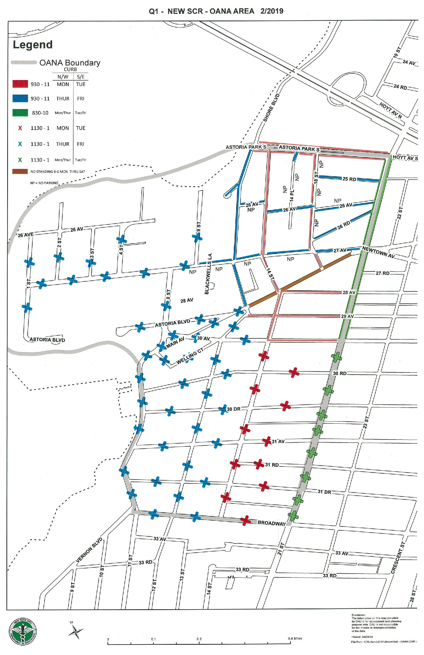 A street cleaning study conducted in Old Astoria by the DSNY helped to determine a new map of street cleanings to take place in the area. Photo via the DSNY.