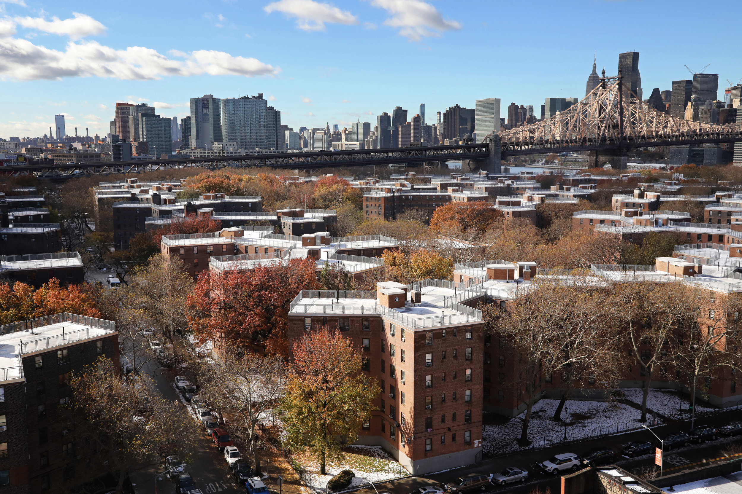 Hundreds of tenants in the Queensbridge Houses experienced heat and hot water outages between Oct. 1, 2018 and May 31, 2019, according to data obtained by The Legal Aid Society. AP Photo/Mark Lennihan.