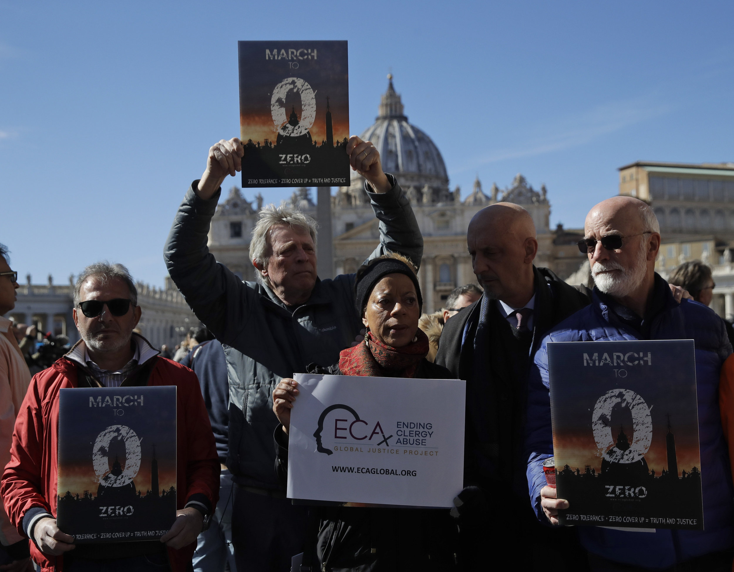 Survivors of clergy sex abuse demonstrate at the Vatican in February. AP Photo/Alessandra Tarantino.