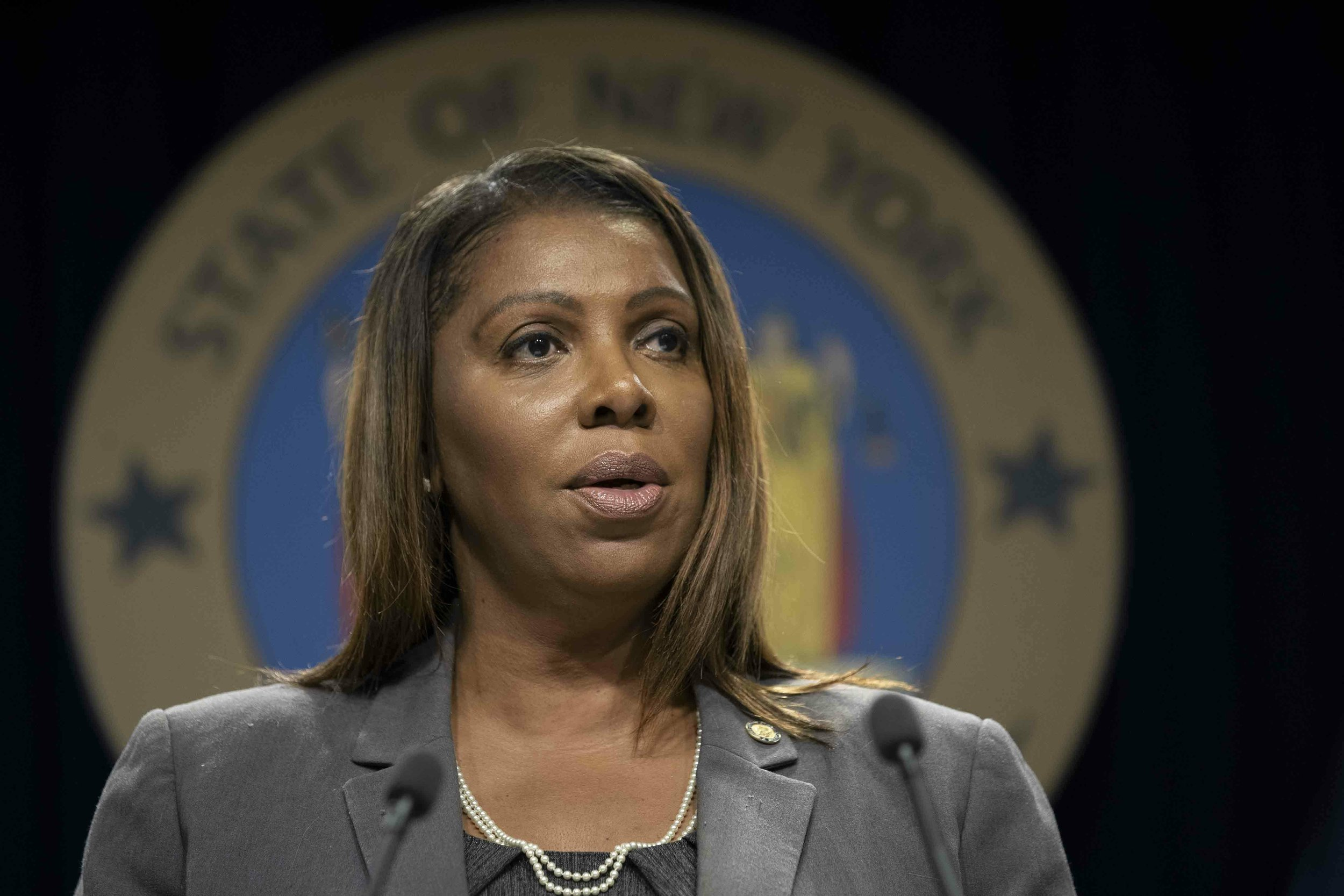 Attorney General Letitia James announced criminal charges against a pharmacy owner and three pharmacy managers who allegedly earned $10 million in a massive Medicaid fraud and kickback scheme.Two of the defendants are from Queens. AP Photo/Mary Altaffer.