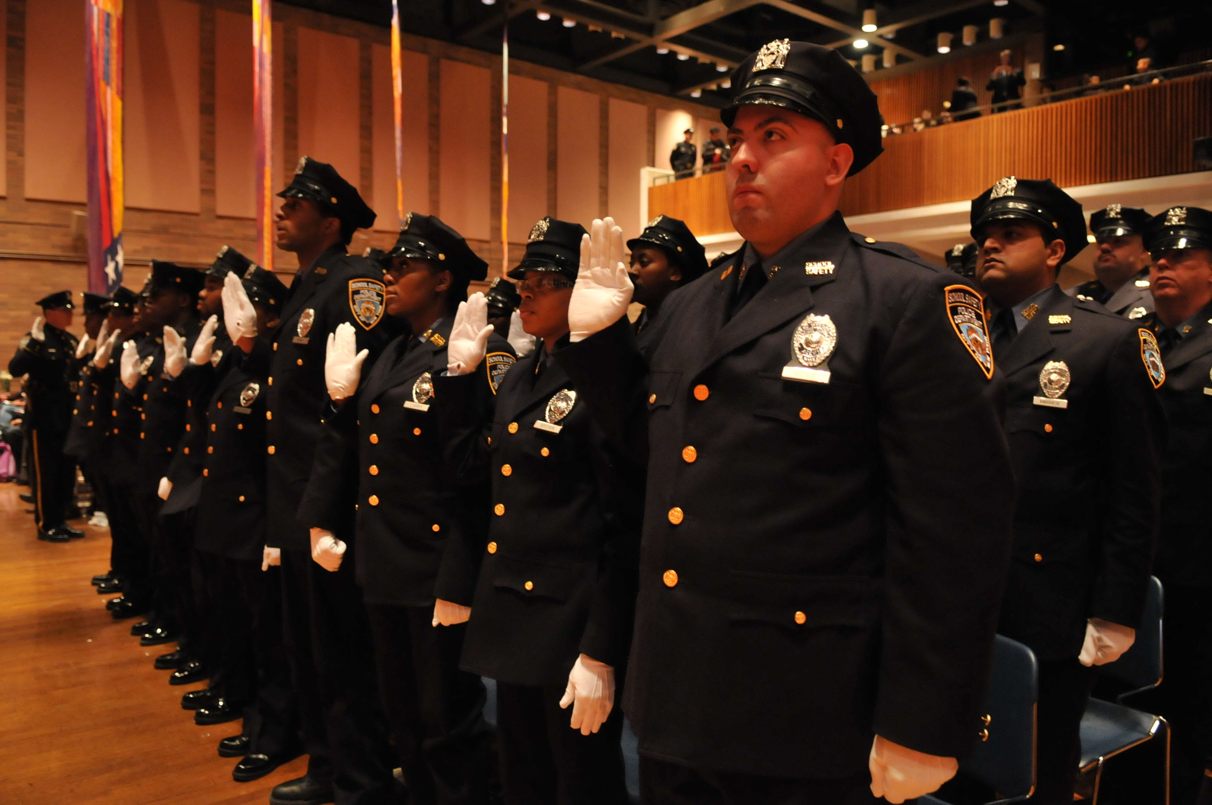 A class of NYPD School Safety Agents is sworn into service at a ceremony in Police Headquarters. Photo via nyc.gov.