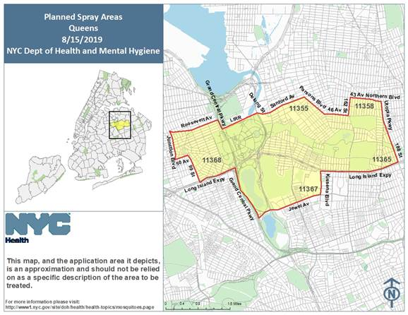The Health Department will spray parts of Central and Eastern Queens with insecticide to reduce mosquito activity. Photo courtesy of the Health Department.