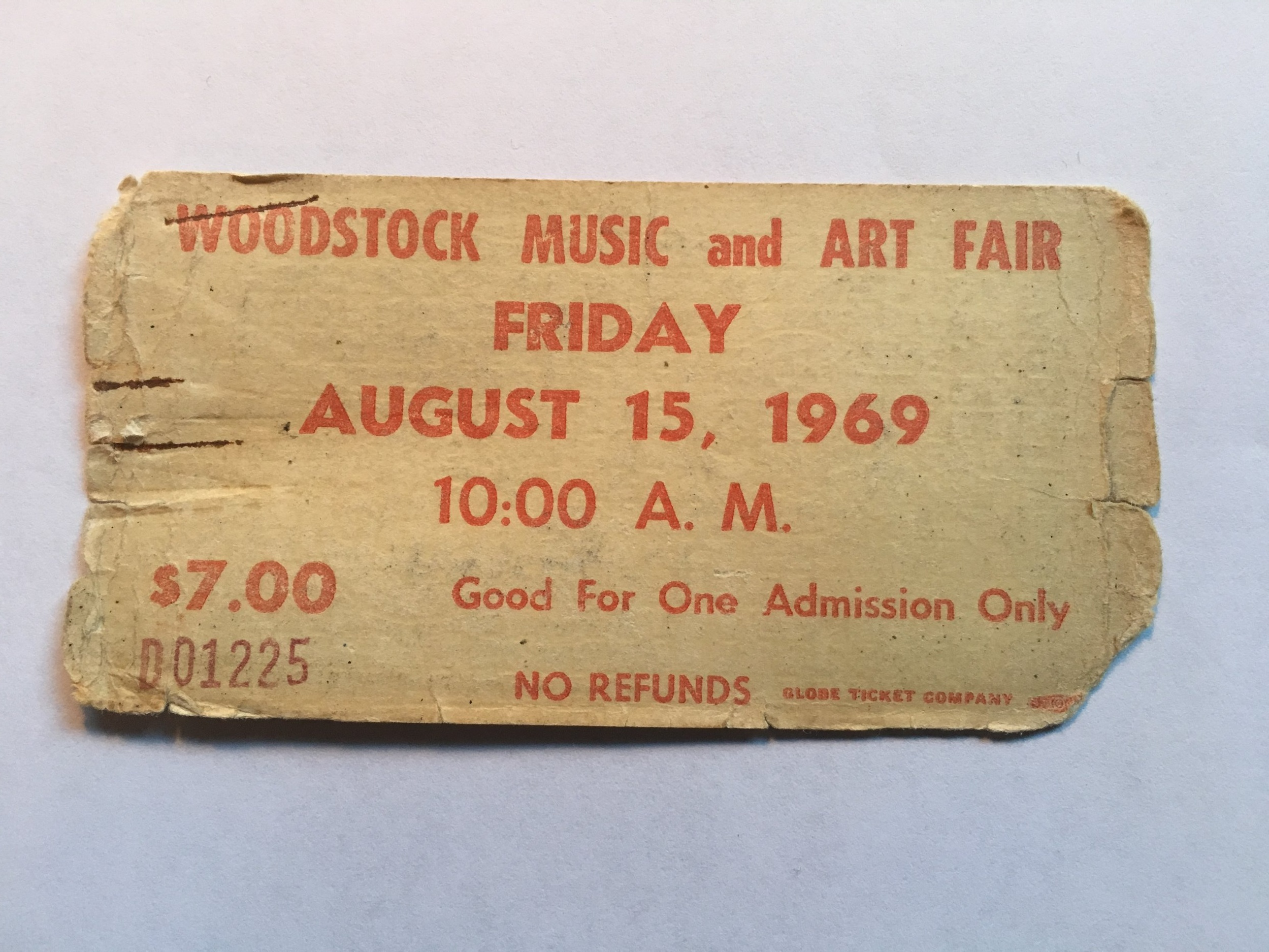 Kerson preserved his Woodstock ticket.