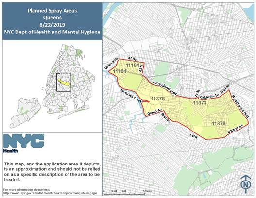 The Health Department will spray pesticide to combat mosquitoes in Eastern and Western Queens this week. Images courtesy of the Health Department.