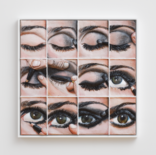 "A work on display in ""The Life I Deserve."" Gina Beavers. Smoky Eye Tutorial. 2014. Acrylic and wood on canvas panel. Image courtesy of the artist."