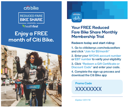 NYCHA residents and SNAP recipients in Queens, Manhattan and Brooklyn can enjoy a free month of Citi Bike. Image courtesy of Citi Bike.